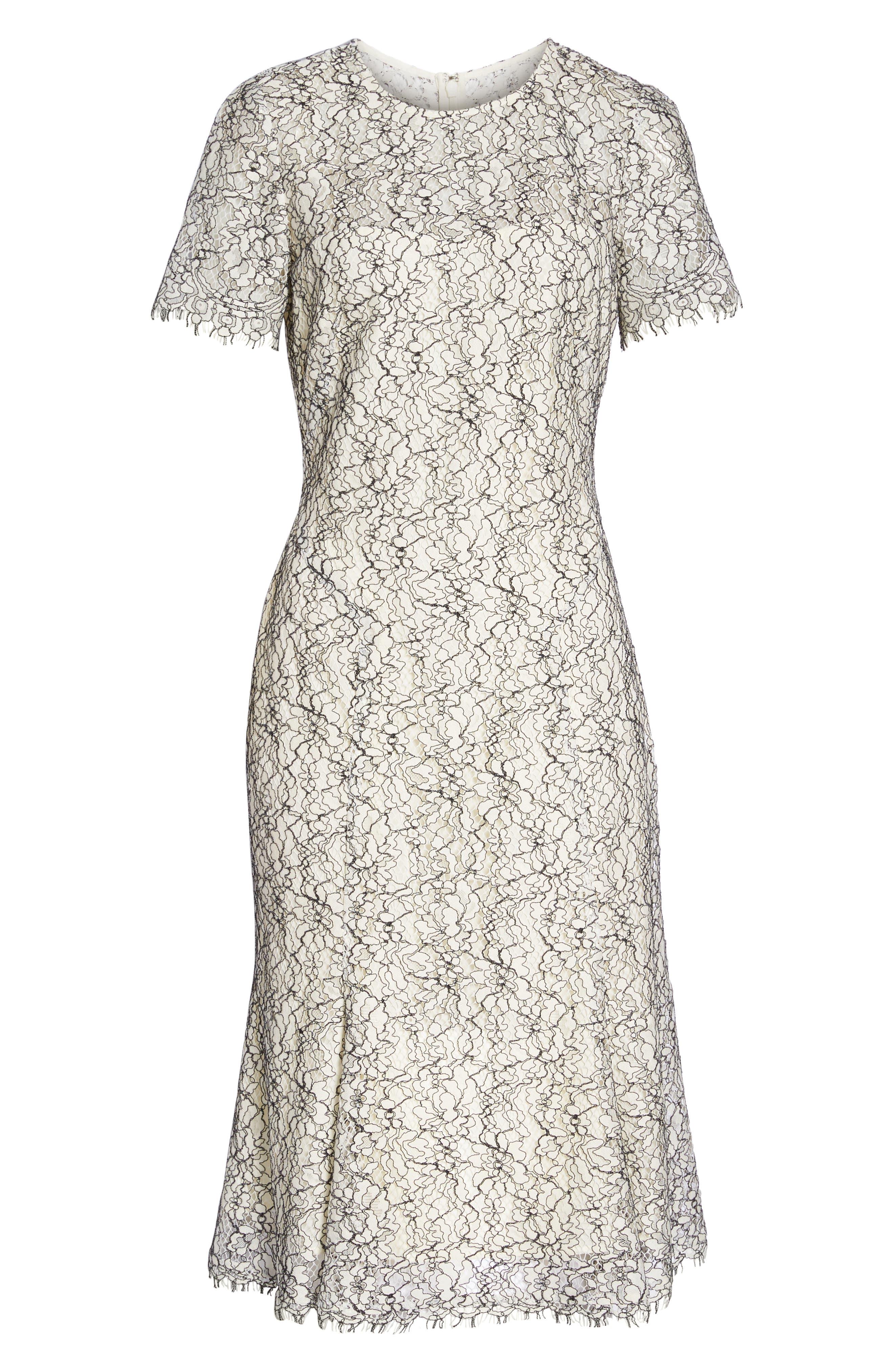 Two-Tone Lace A-Line Dress,                             Alternate thumbnail 7, color,                             902