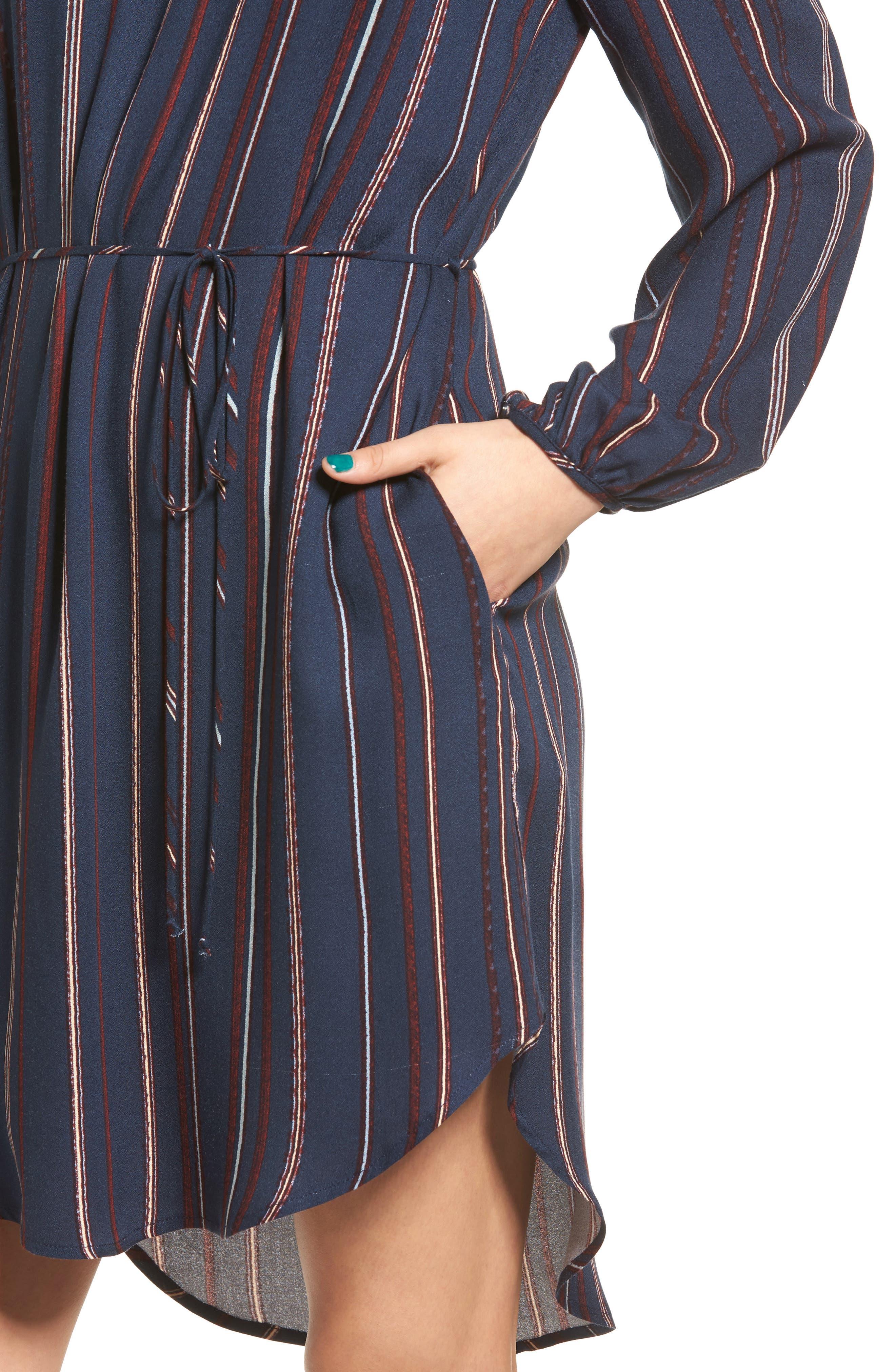 ---,                             Stripe Off the Shoulder Shirtdress,                             Alternate thumbnail 4, color,                             400