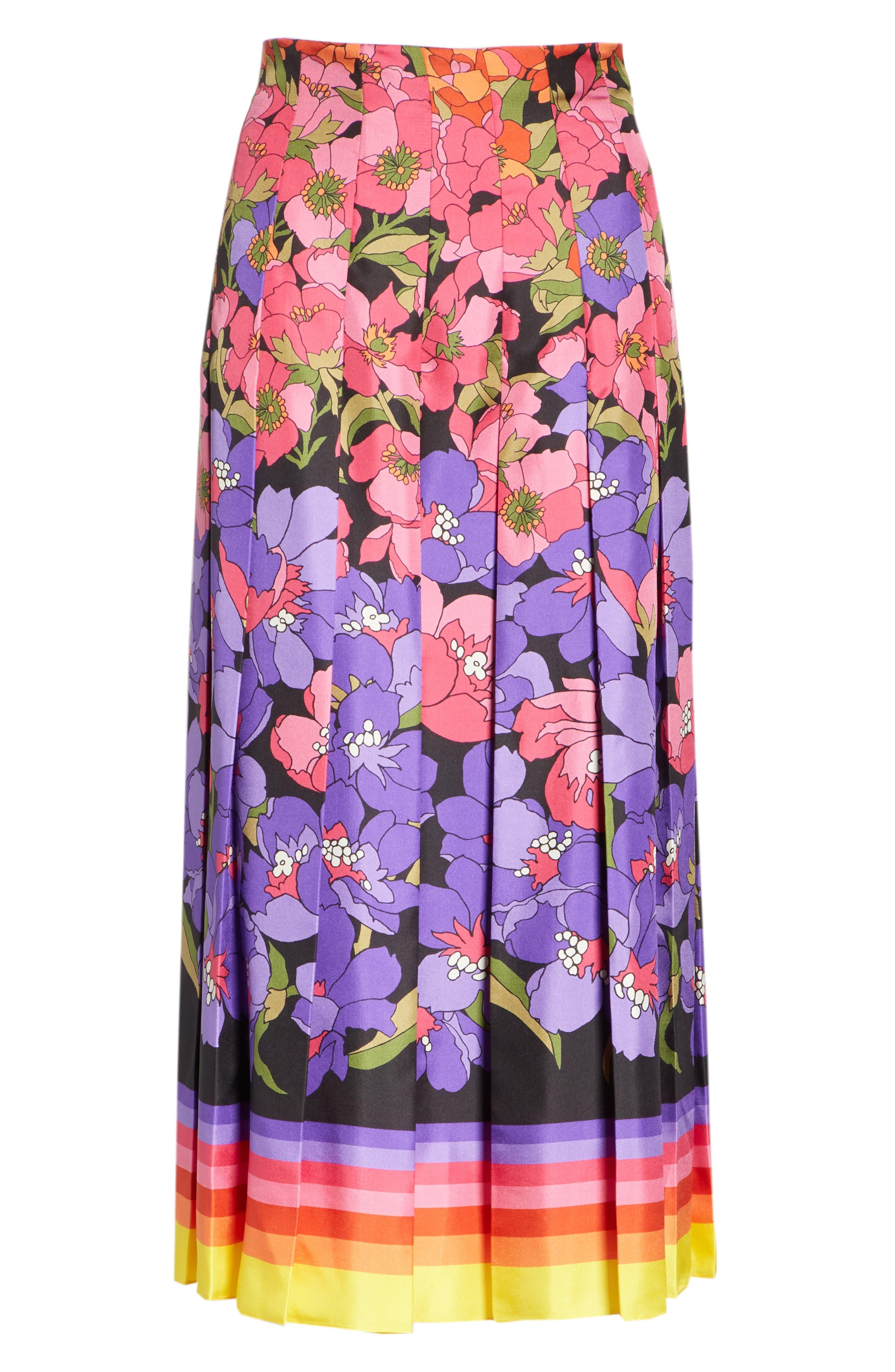 Flower Dégradé Pleated Silk Skirt,                             Alternate thumbnail 3, color,                             BLACK/ PURPLE PRINT