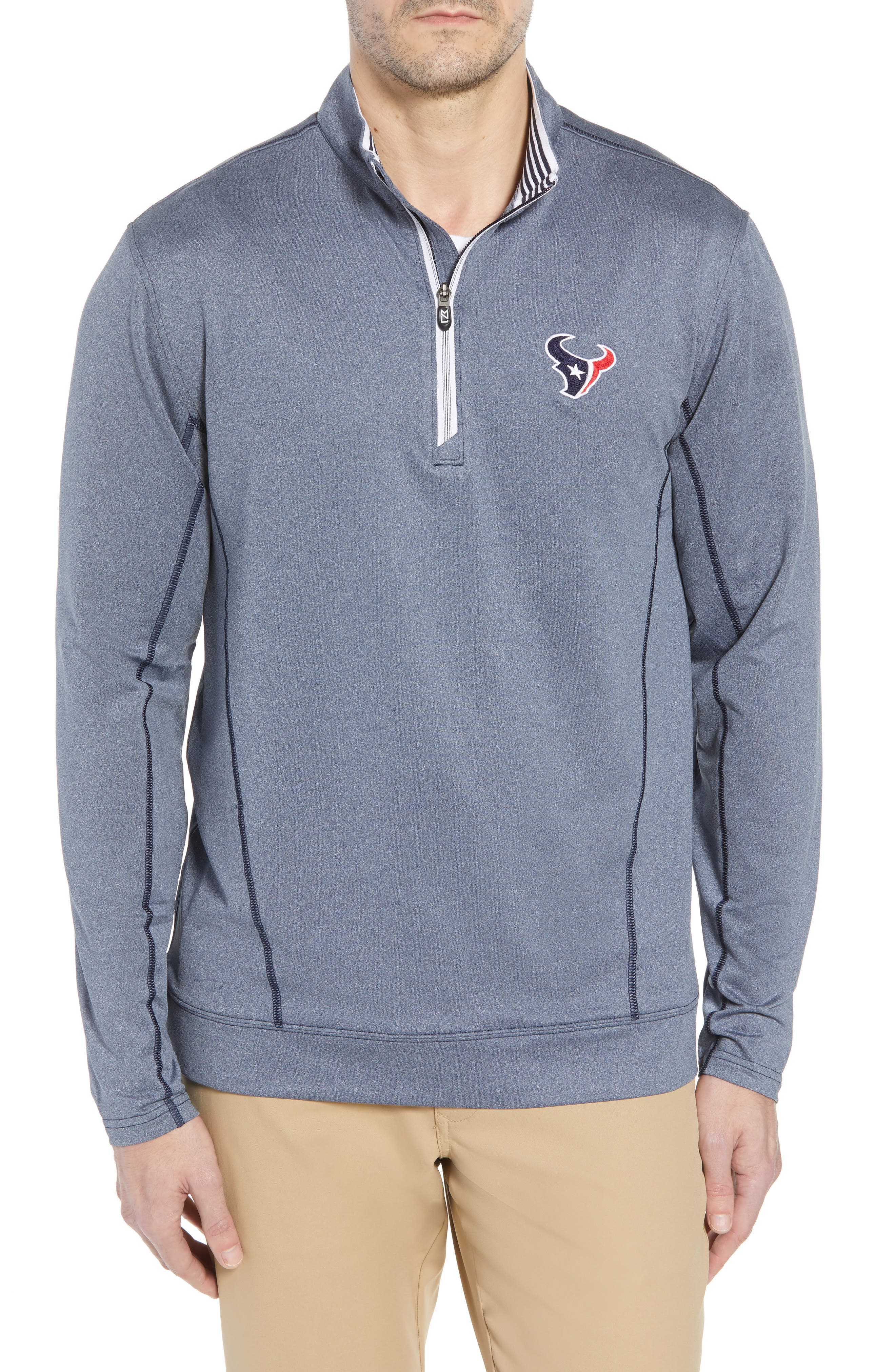 Endurance Houston Texans Regular Fit Pullover,                             Main thumbnail 1, color,                             LIBERTY NAVY HEATHER