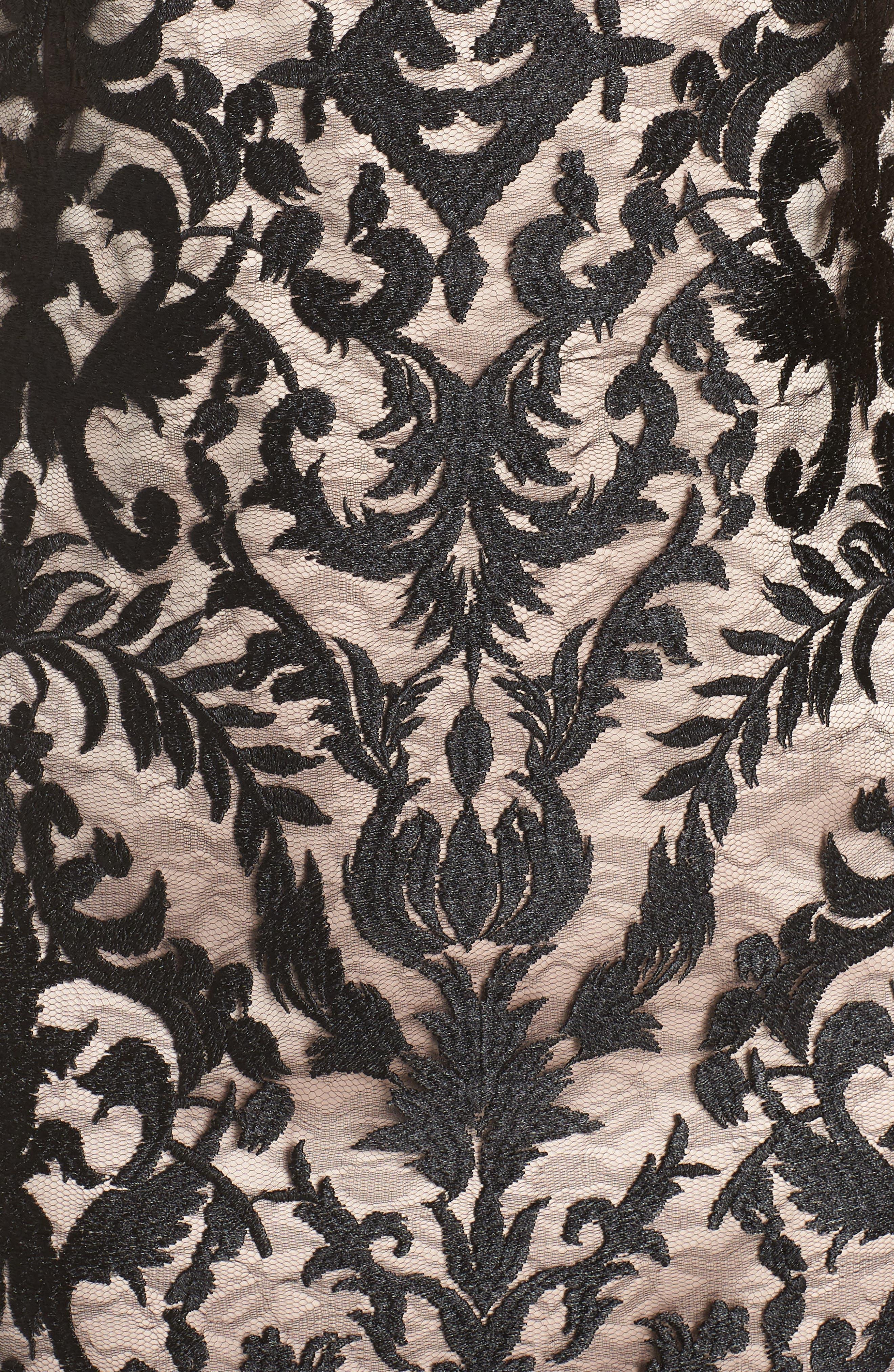 Embroidered Mesh Sheath Dress,                             Alternate thumbnail 6, color,                             BLACK/ TAN
