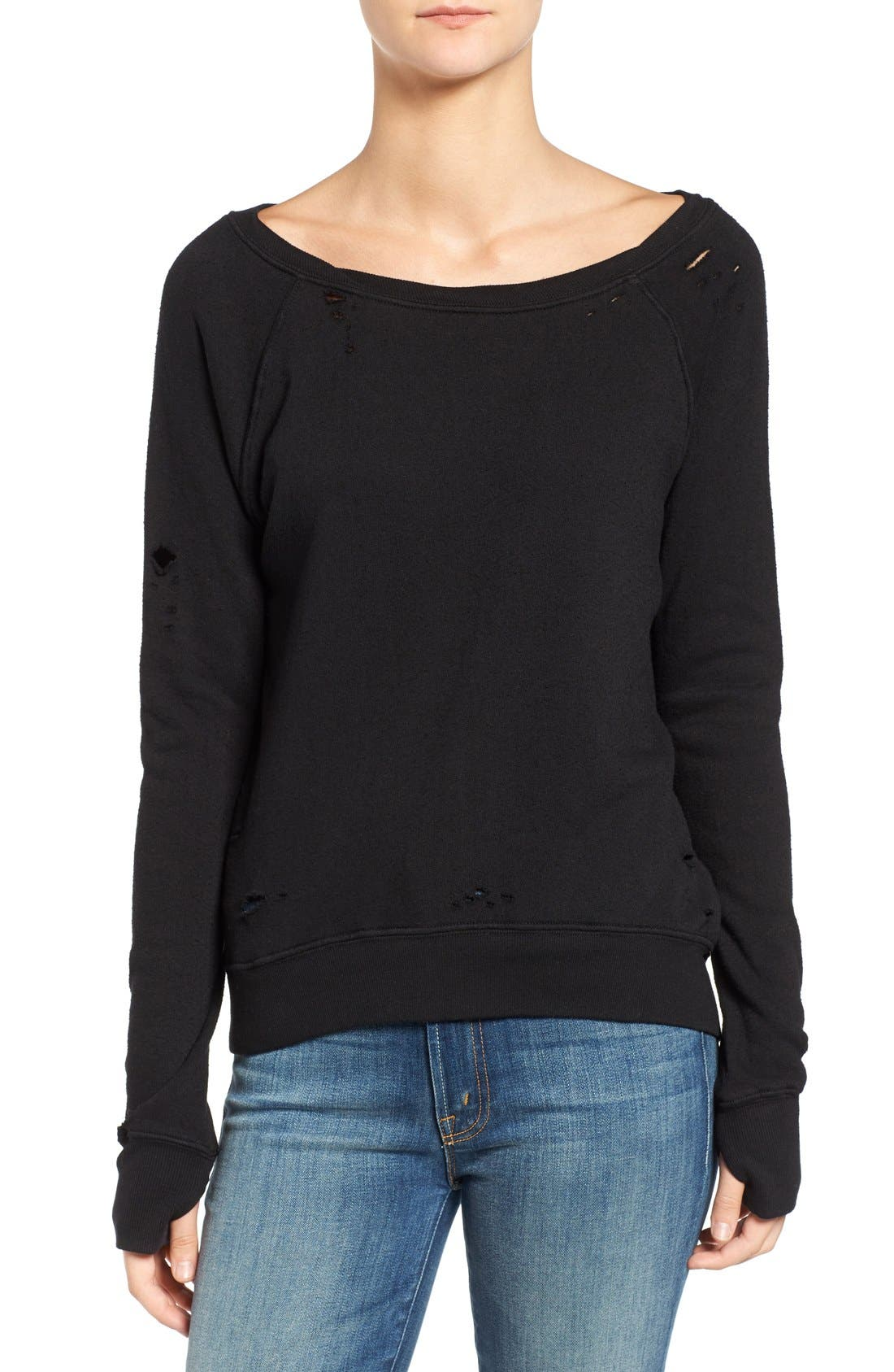 'Annie' Destroyed High/Low Sweatshirt,                             Main thumbnail 1, color,                             001