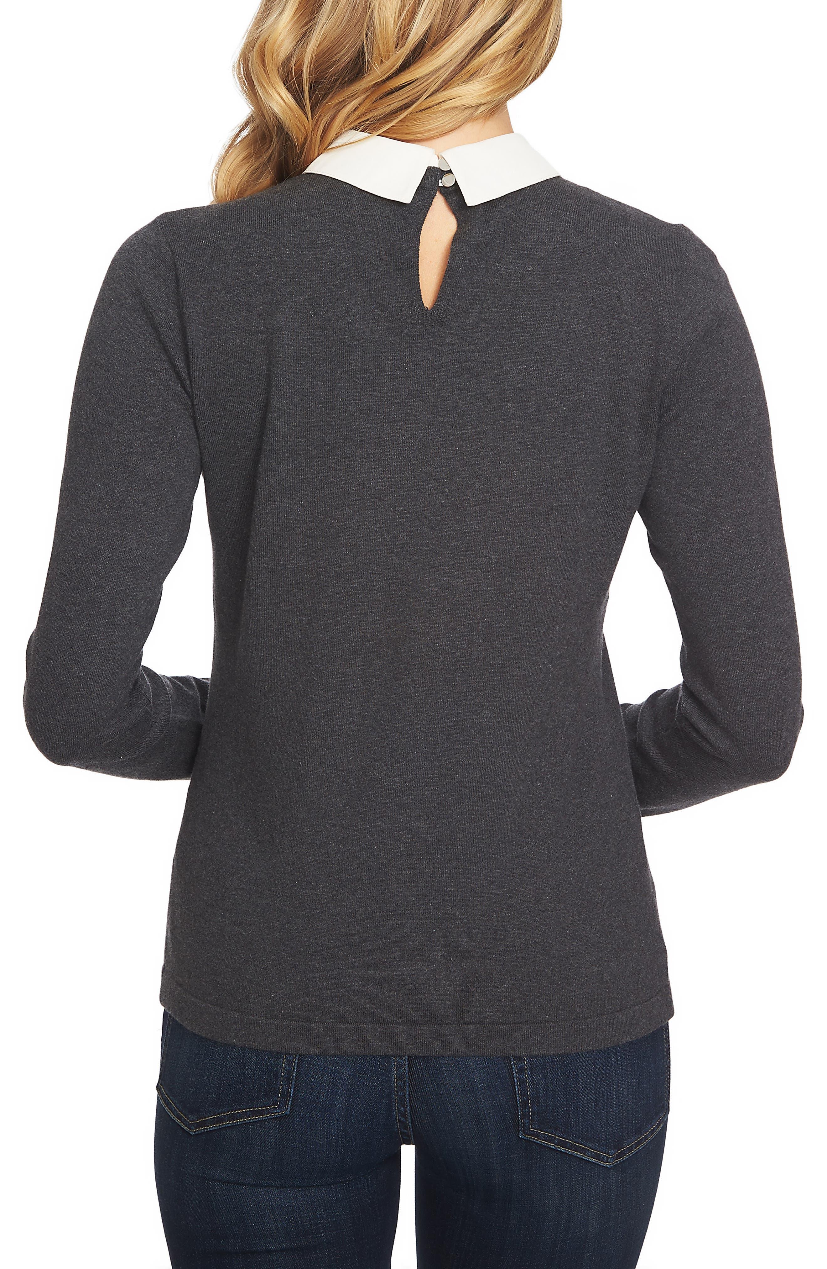 Embellished Collar Cotton Blend Sweater,                             Alternate thumbnail 2, color,                             020