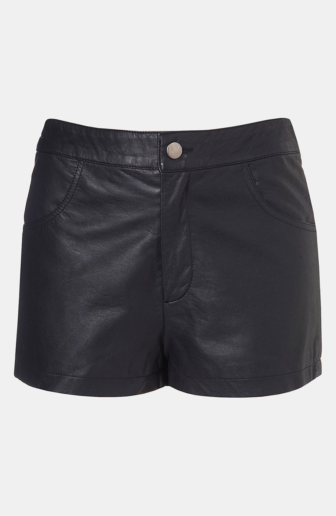 Faux Leather Shorts,                             Main thumbnail 1, color,                             001