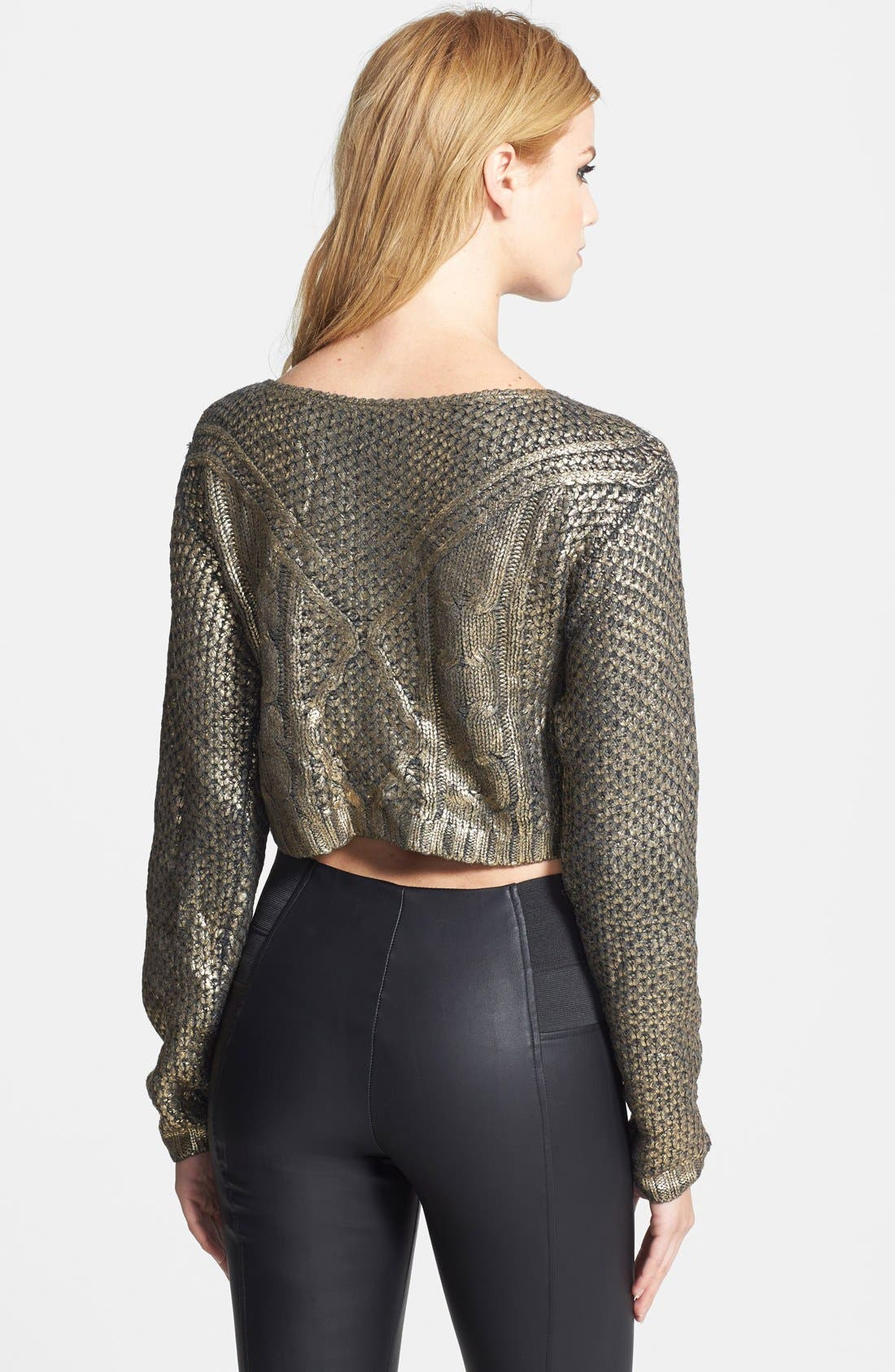 LUCY PARIS,                             Coated Crop Sweater,                             Alternate thumbnail 2, color,                             220