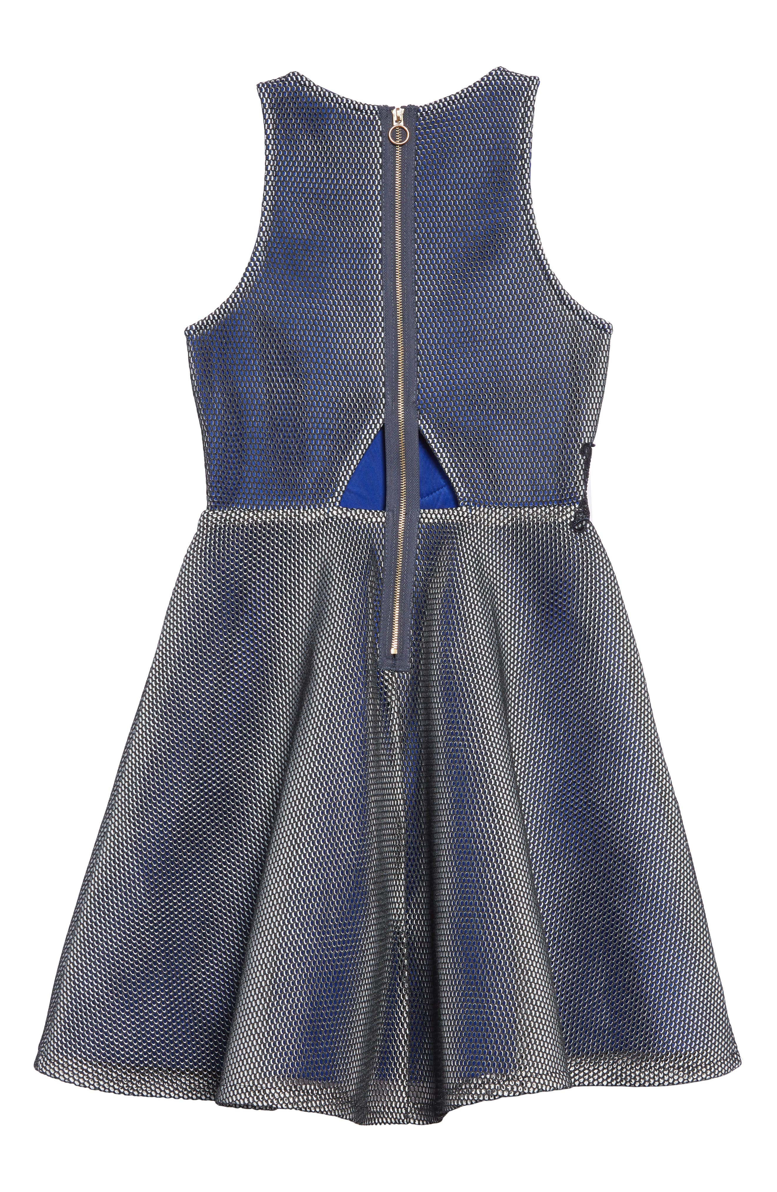 Embroidered Techno Mesh Dress,                             Alternate thumbnail 2, color,                             NAVY