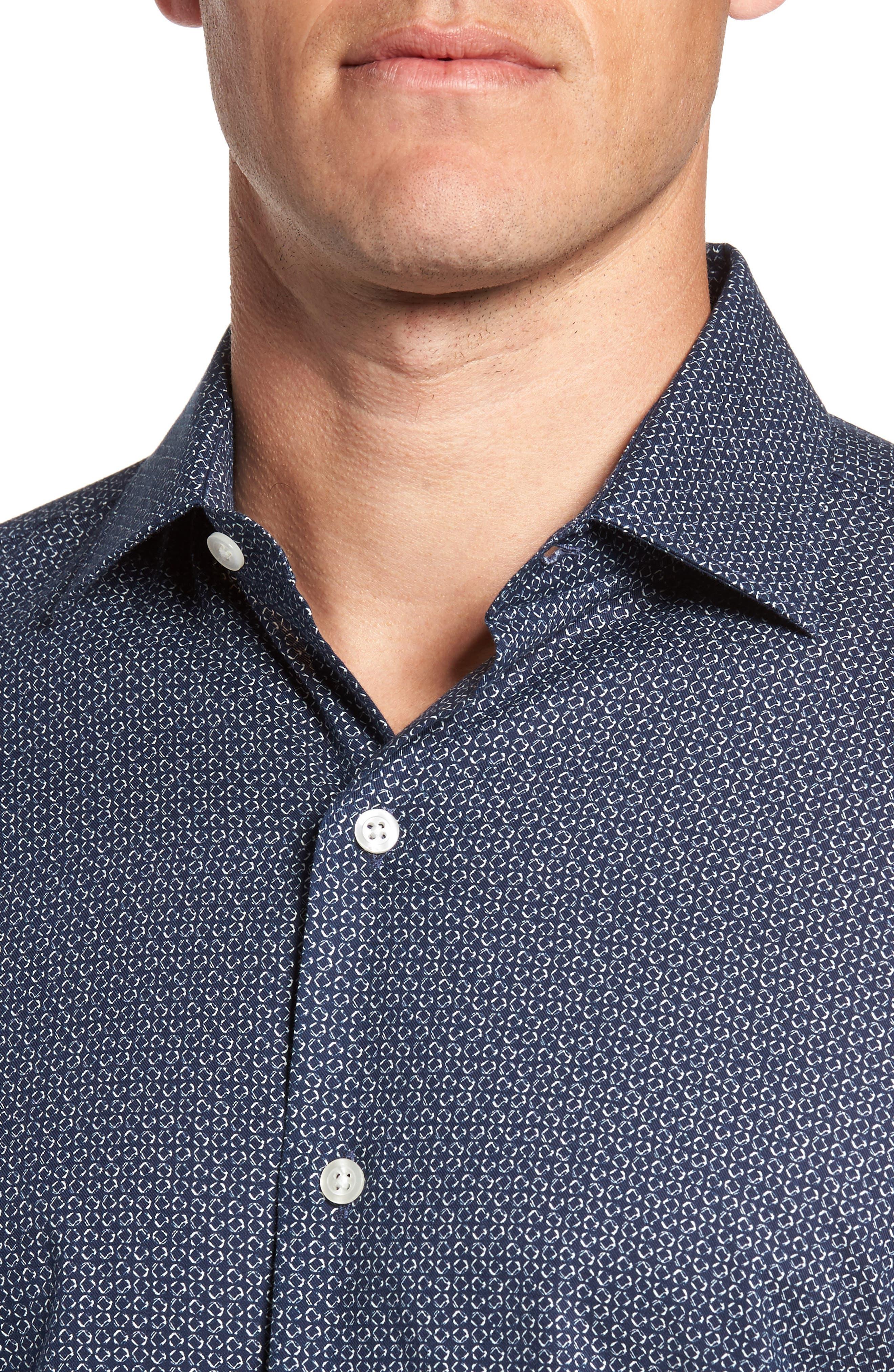 Trim Fit Abstract Print Sport Shirt,                             Alternate thumbnail 4, color,                             400