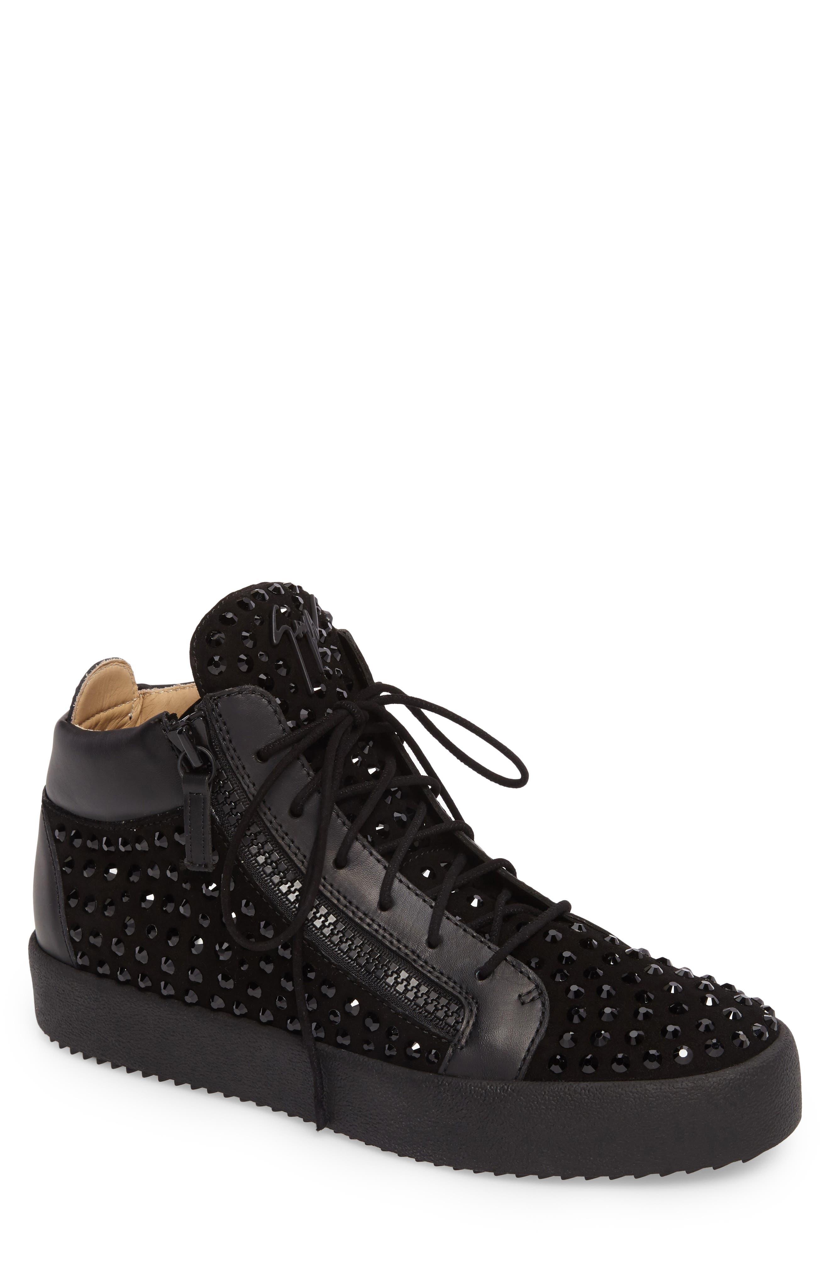 Mid-Top Sneaker,                         Main,                         color, BLACK
