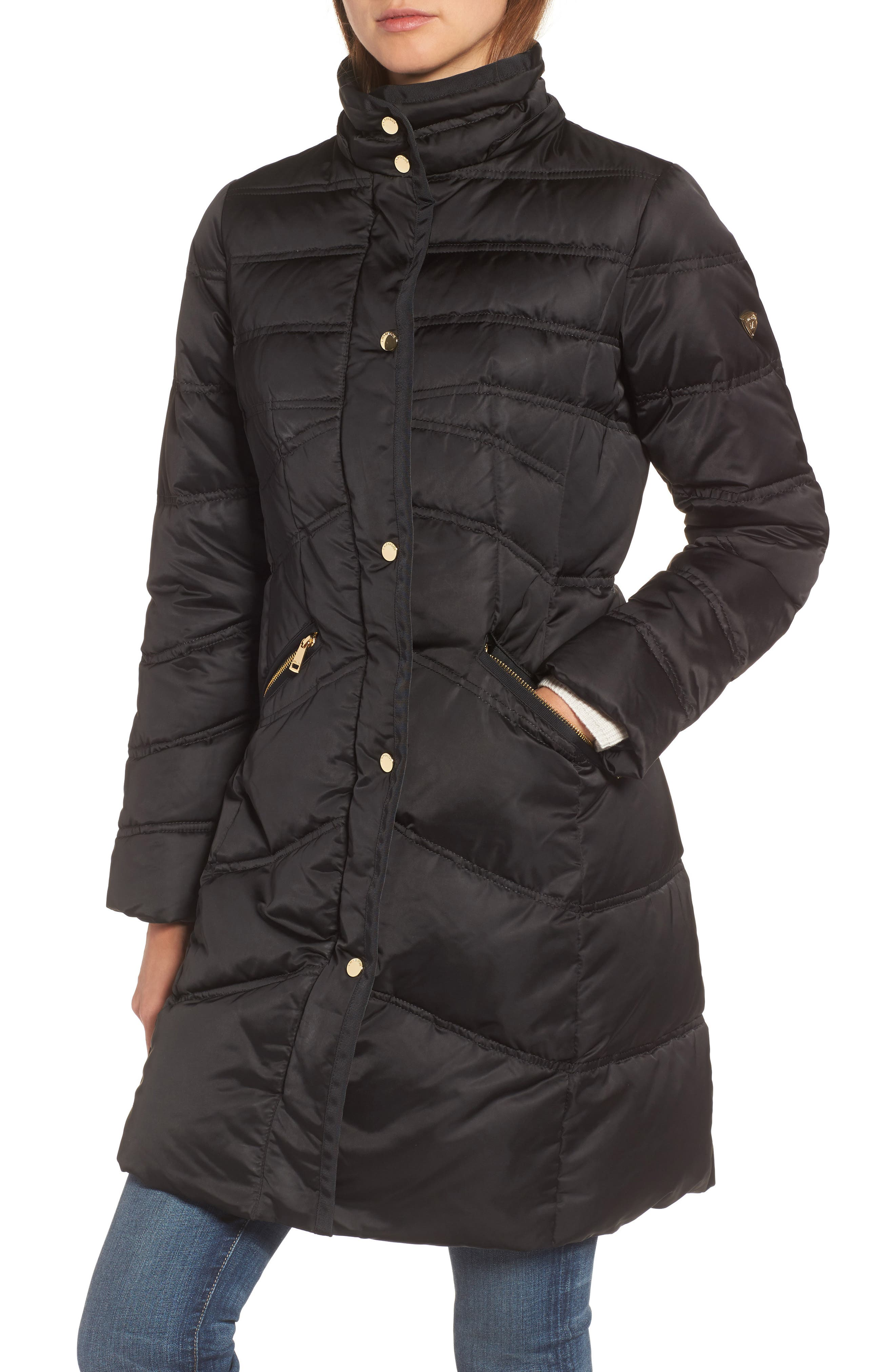 1 MADISON,                             Insulated Parka with Genuine Fox Fur Trim,                             Alternate thumbnail 4, color,                             001