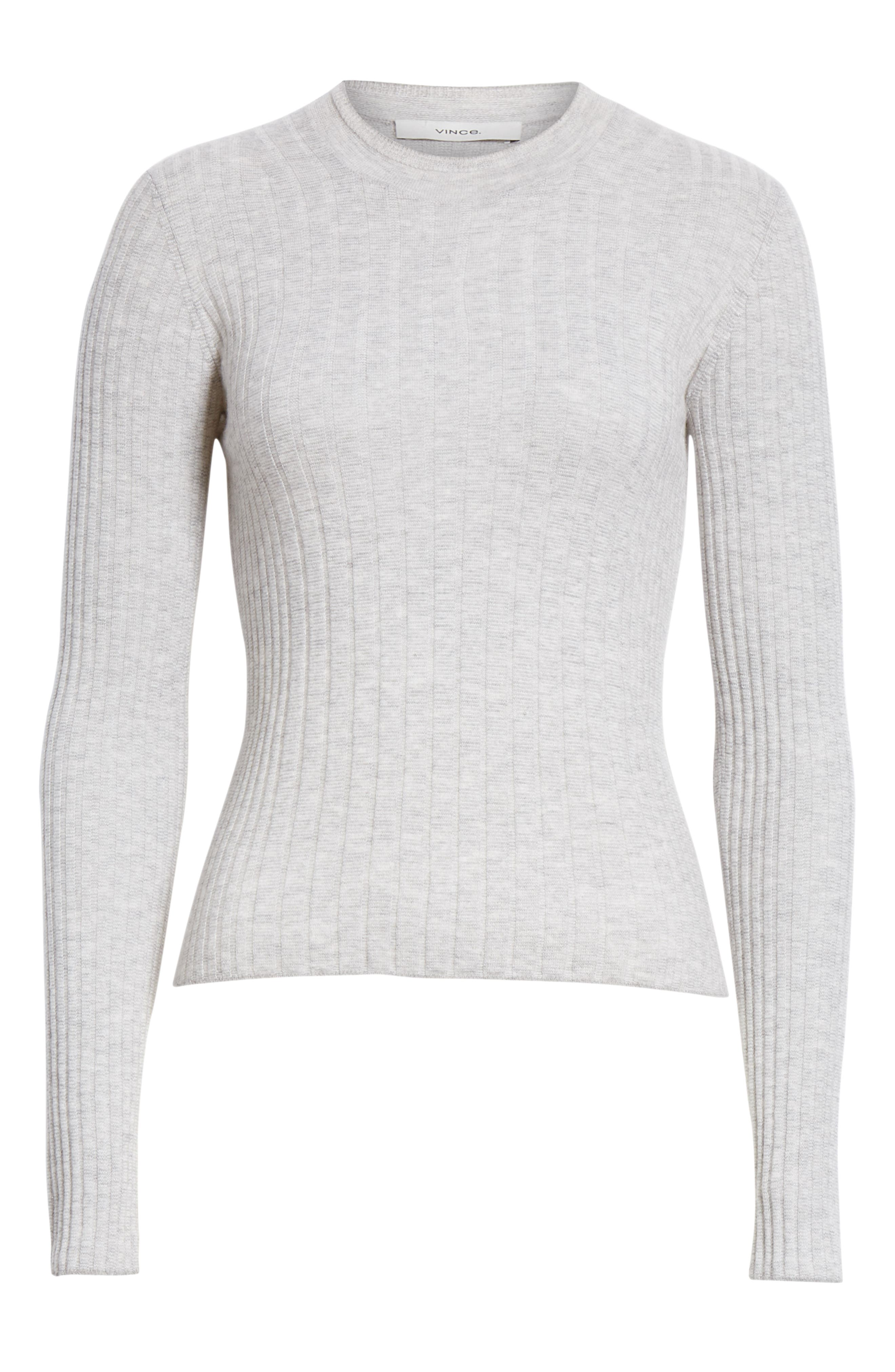 Mixed Rib Stitch Sweater,                             Alternate thumbnail 6, color,                             H STEEL/ OFF WHITE
