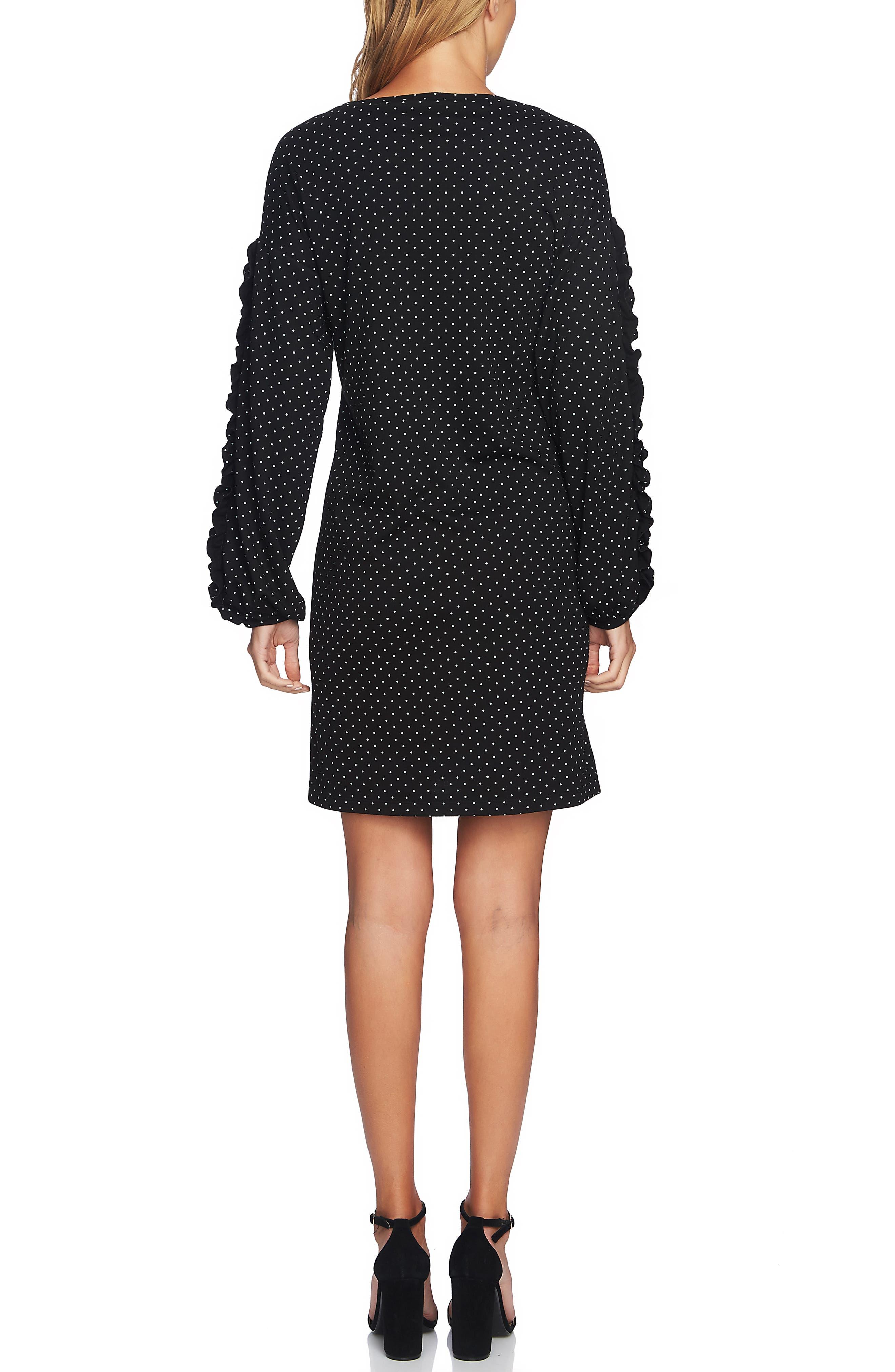 Pin Dot Ruffle Sleeve Dress,                             Alternate thumbnail 2, color,                             RICH BLACK