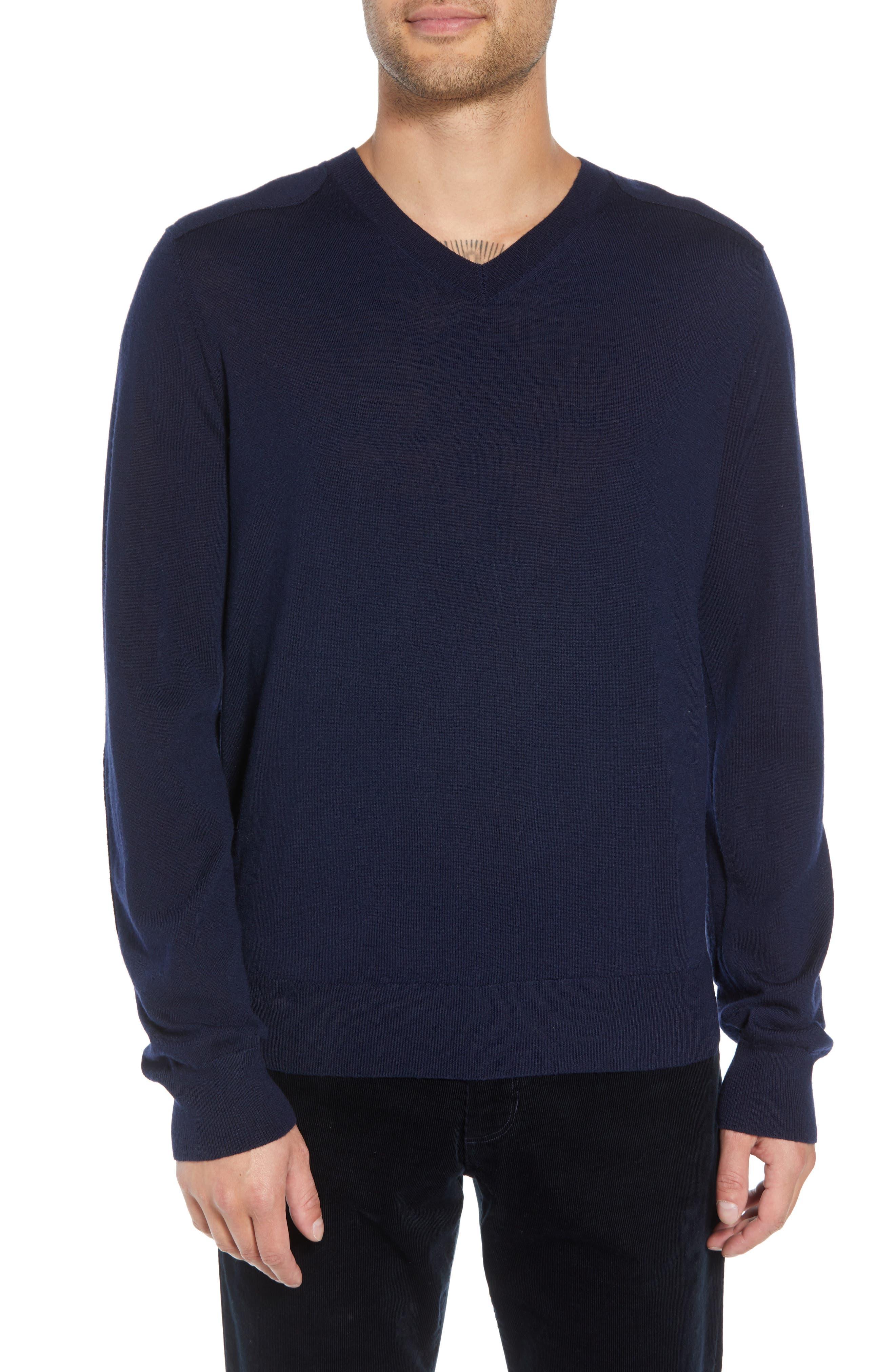 Vince Regular Fit Elbow Patch Merino Wool Sweater