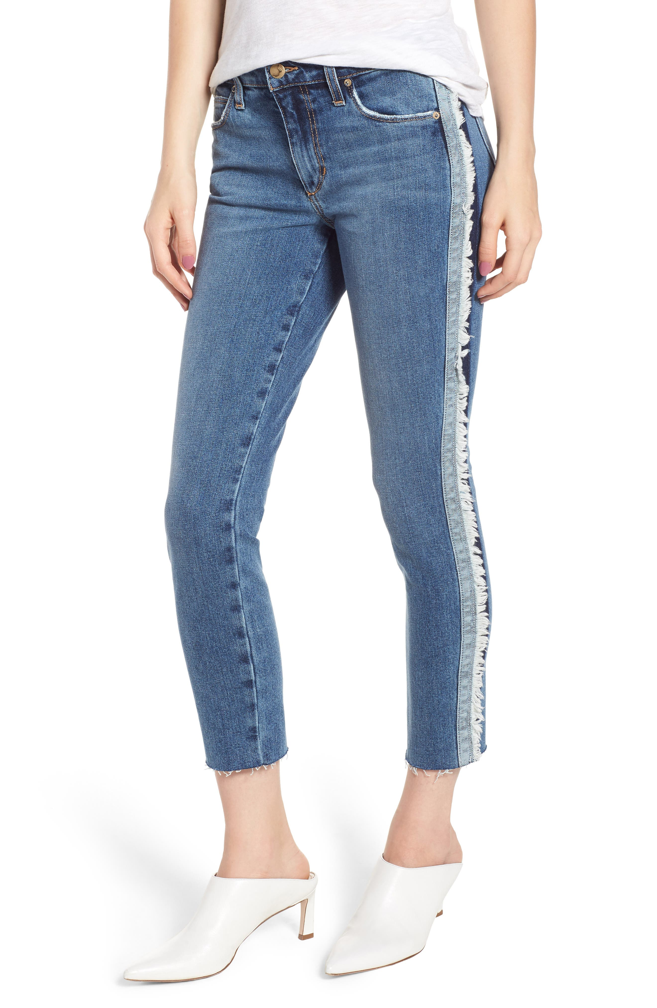 Icon Side Stripe Crop Skinny Jeans,                             Main thumbnail 1, color,                             MADERA