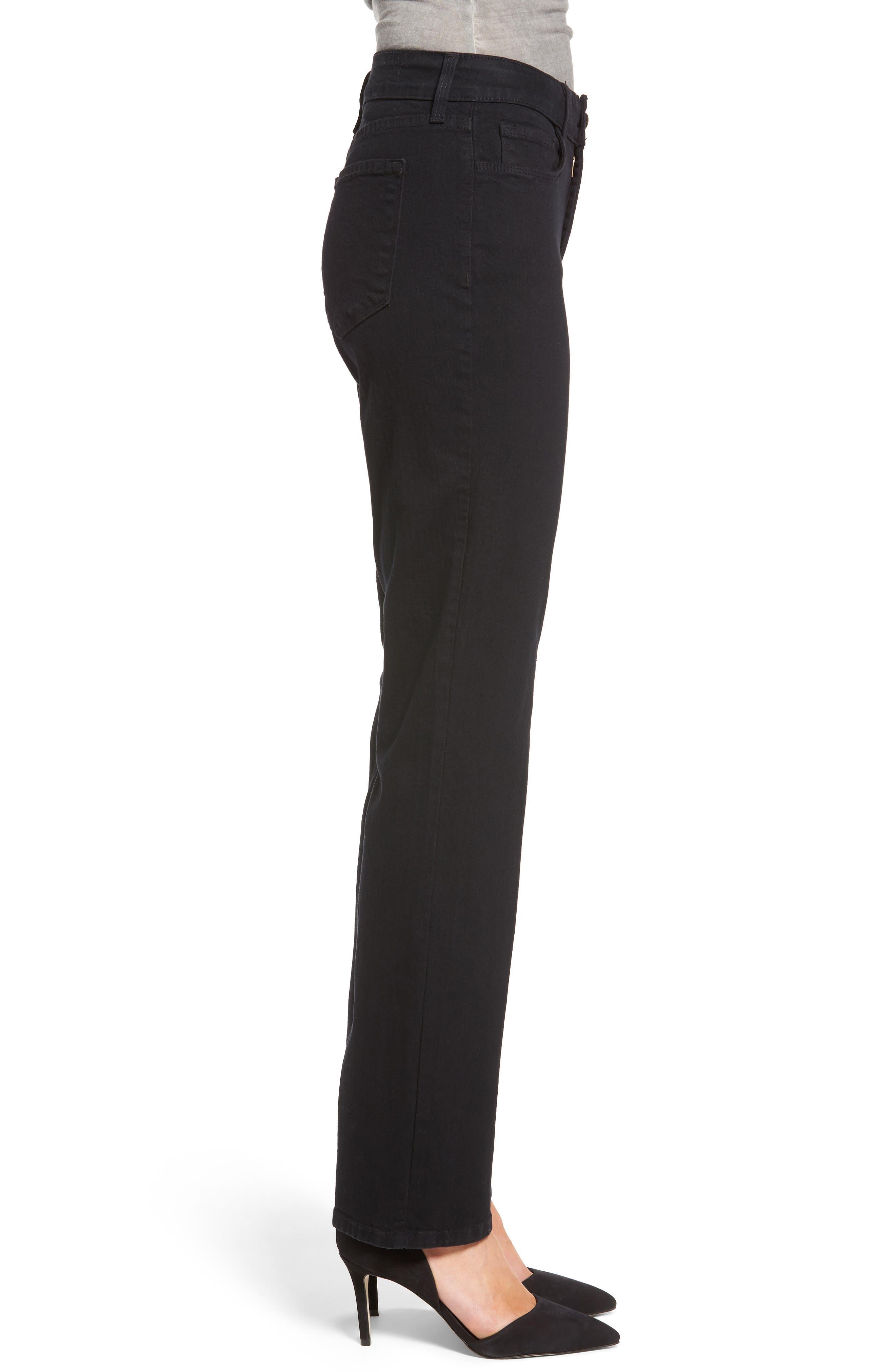 NYDJ,                             Marilyn High Waist Stretch Straight Leg Jeans,                             Alternate thumbnail 3, color,                             BLACK