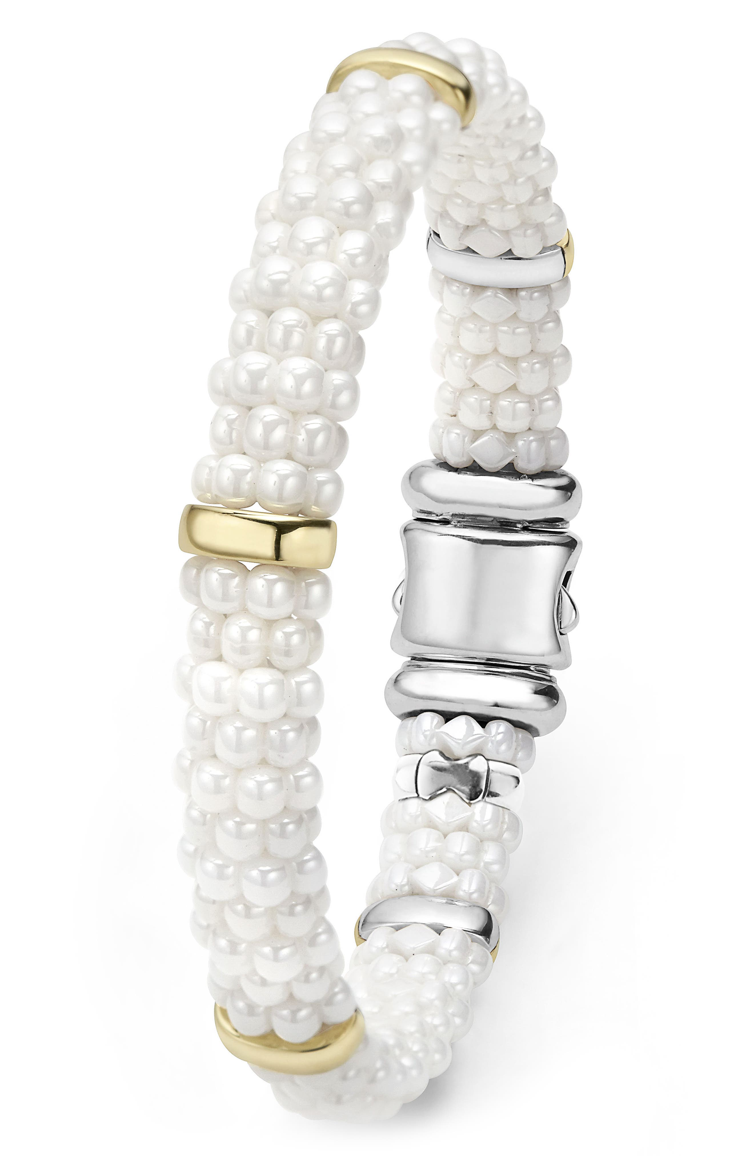 White Caviar Station Bracelet,                             Alternate thumbnail 2, color,                             WHITE CAVIAR