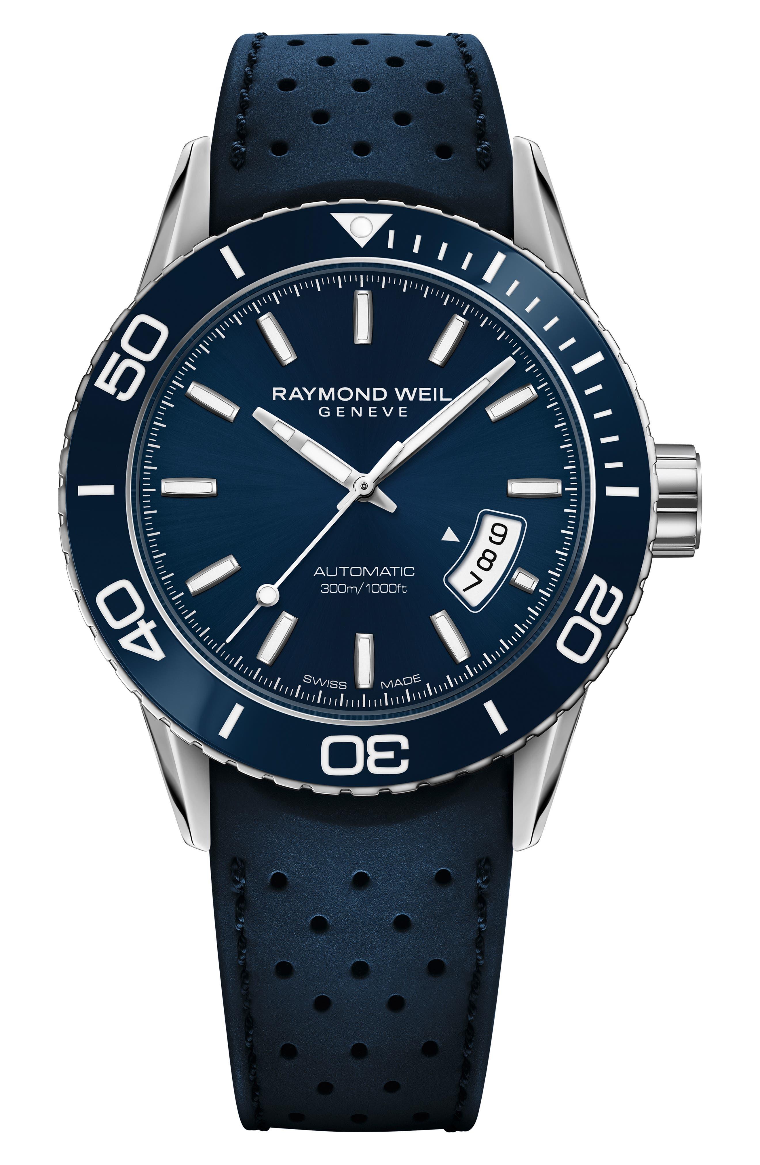 Freelancer Diver Automatic Rubber Strap Watch, 43mm,                         Main,                         color, BLUE