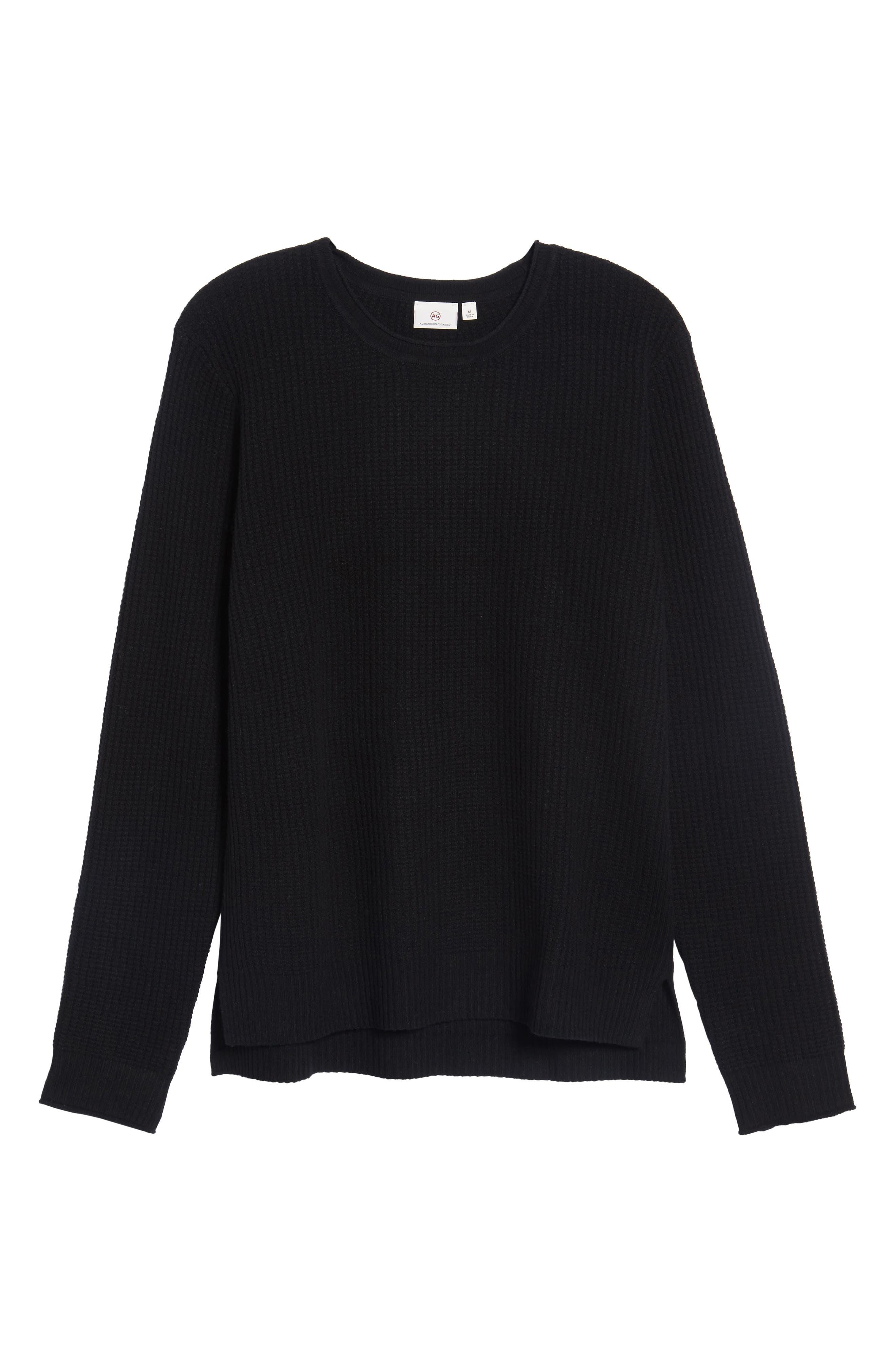 Deklyn Slim Fit Merino & Cashmere Sweatshirt,                             Alternate thumbnail 6, color,                             001
