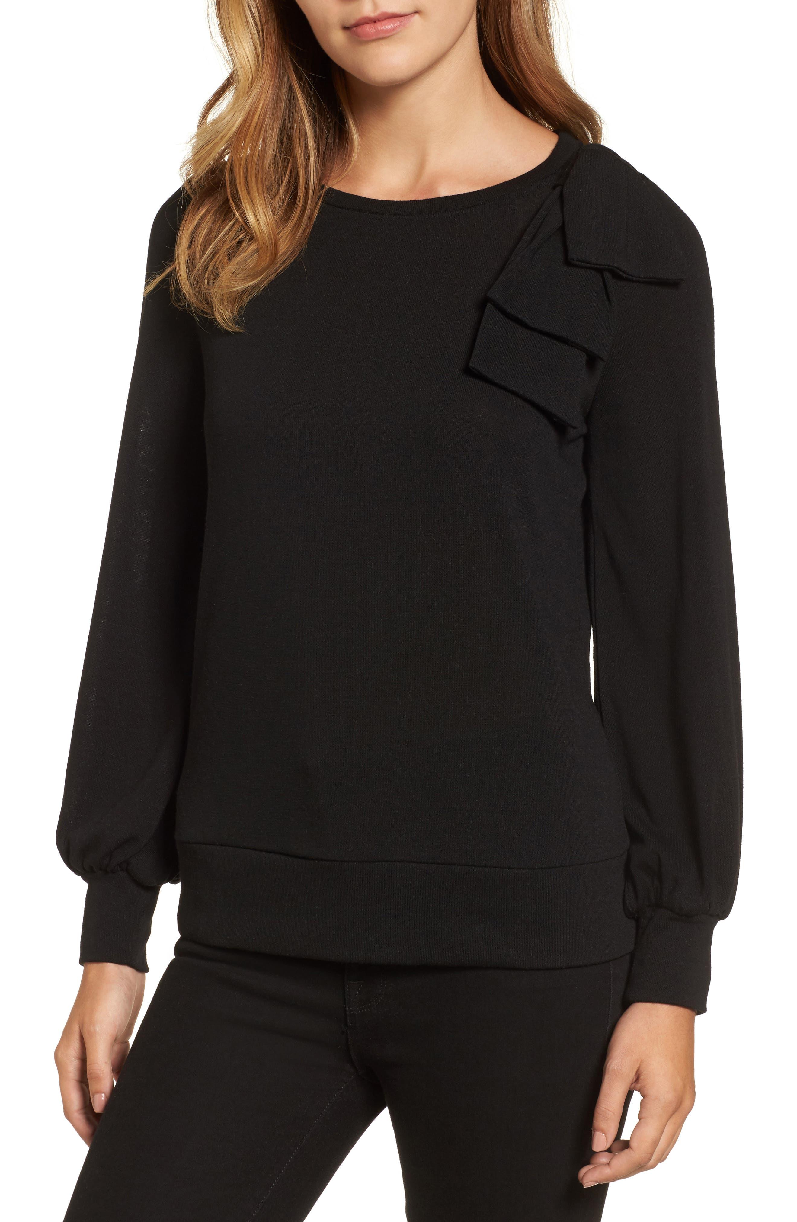 Bow Knit Sweatshirt,                         Main,                         color, 001