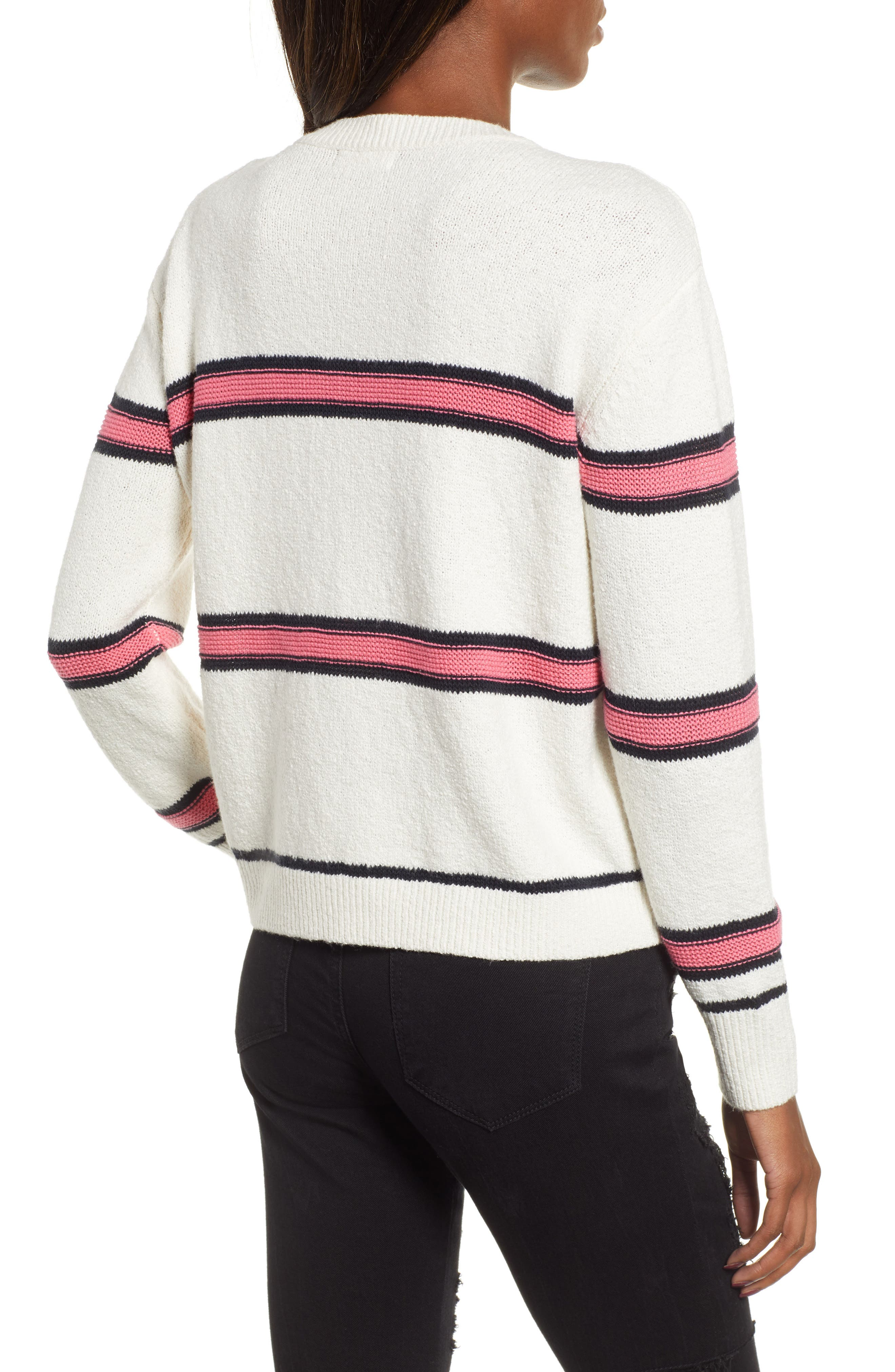 Spring Stripe Sweater,                             Alternate thumbnail 2, color,                             IVORY CLAUDIA STRIPE