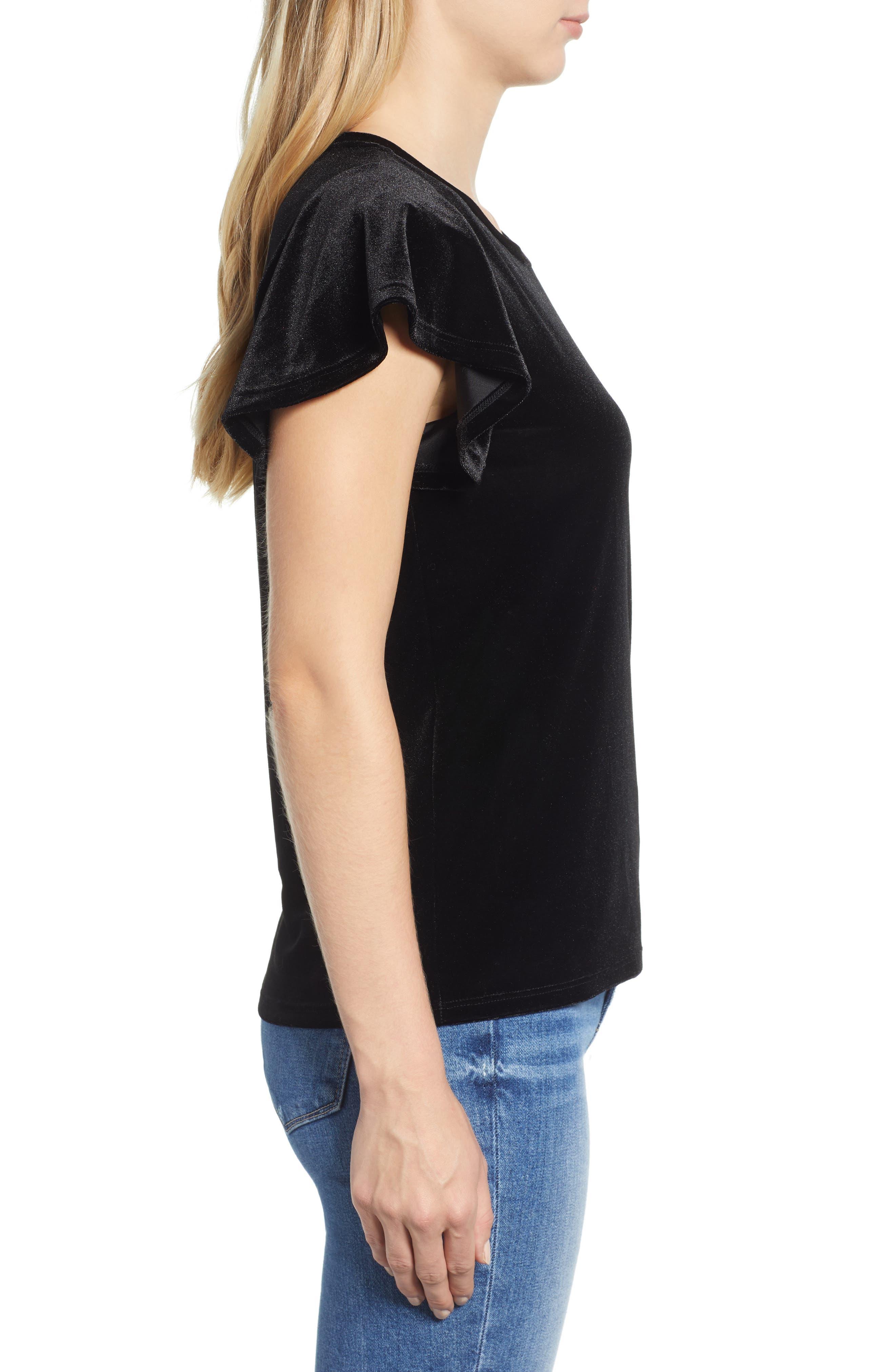 x Glam Squad Velvet Flutter Sleeve Shirt,                             Alternate thumbnail 4, color,                             BLACK