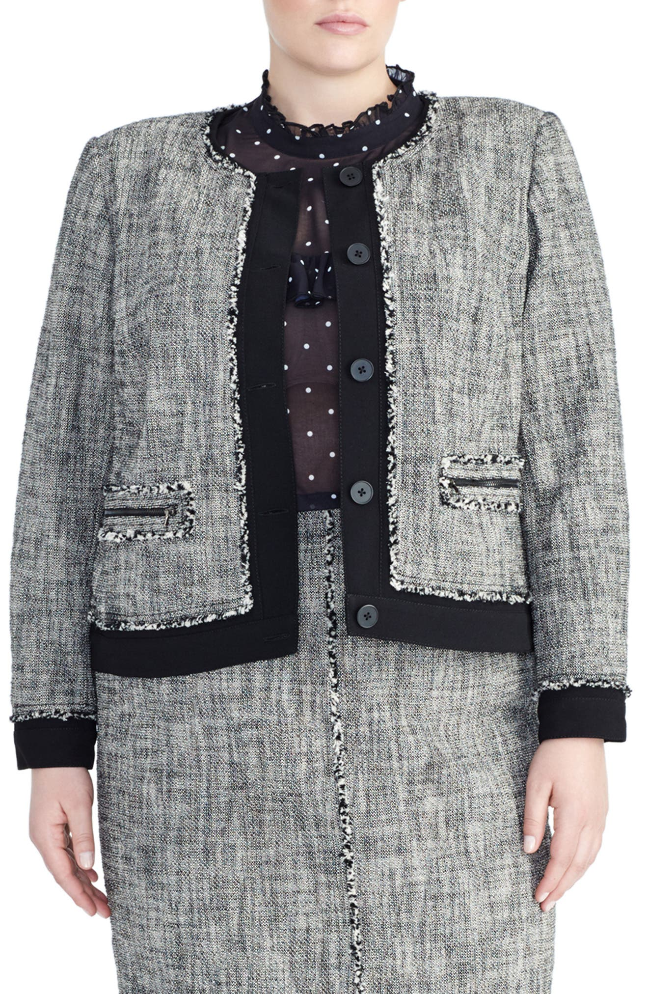 Tweed Jacket, Main, color, BLACK/ IVORY COMBO
