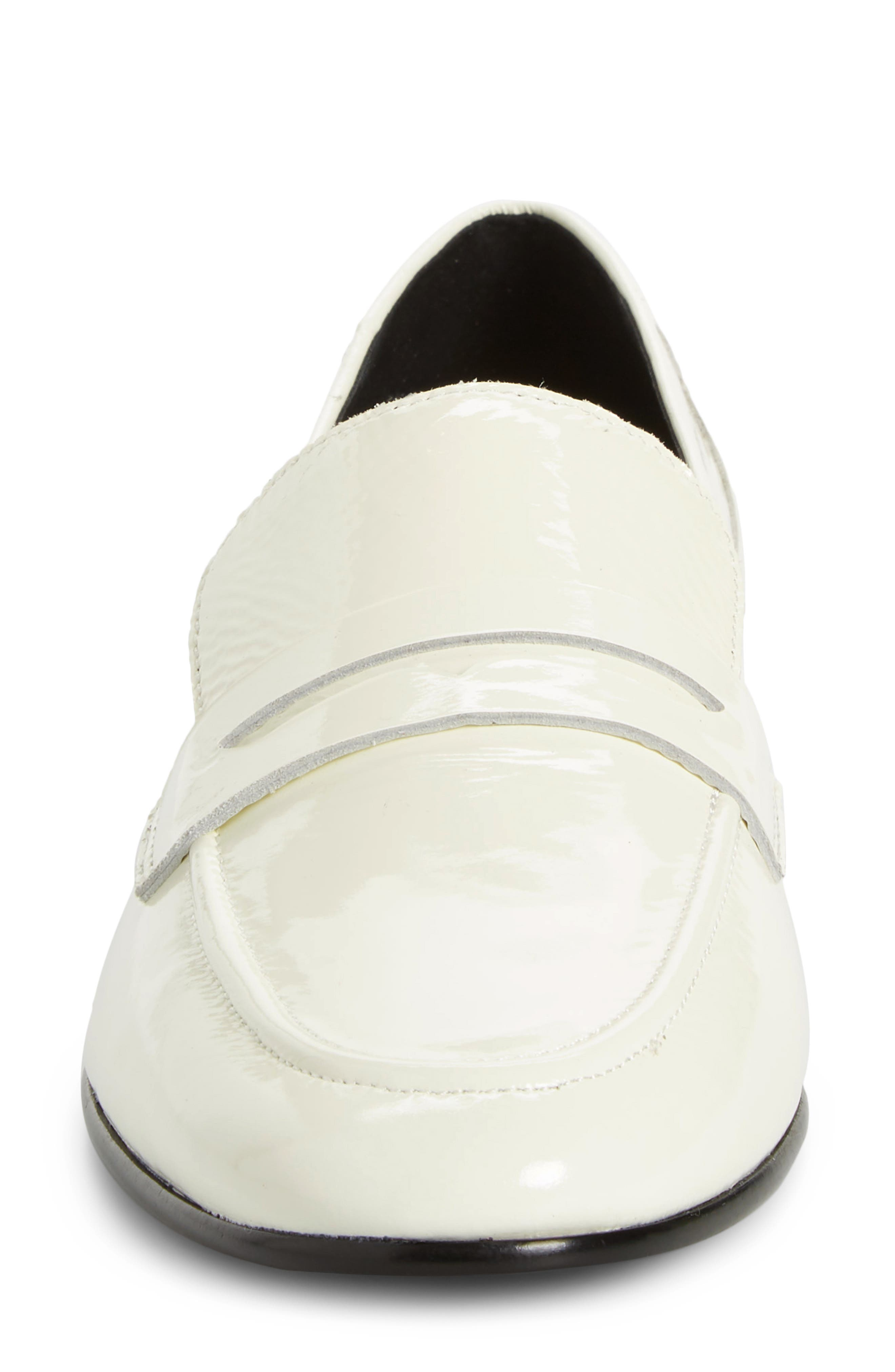 genevieve loafer,                             Alternate thumbnail 4, color,                             OFF WHITE CRINKLE PAT