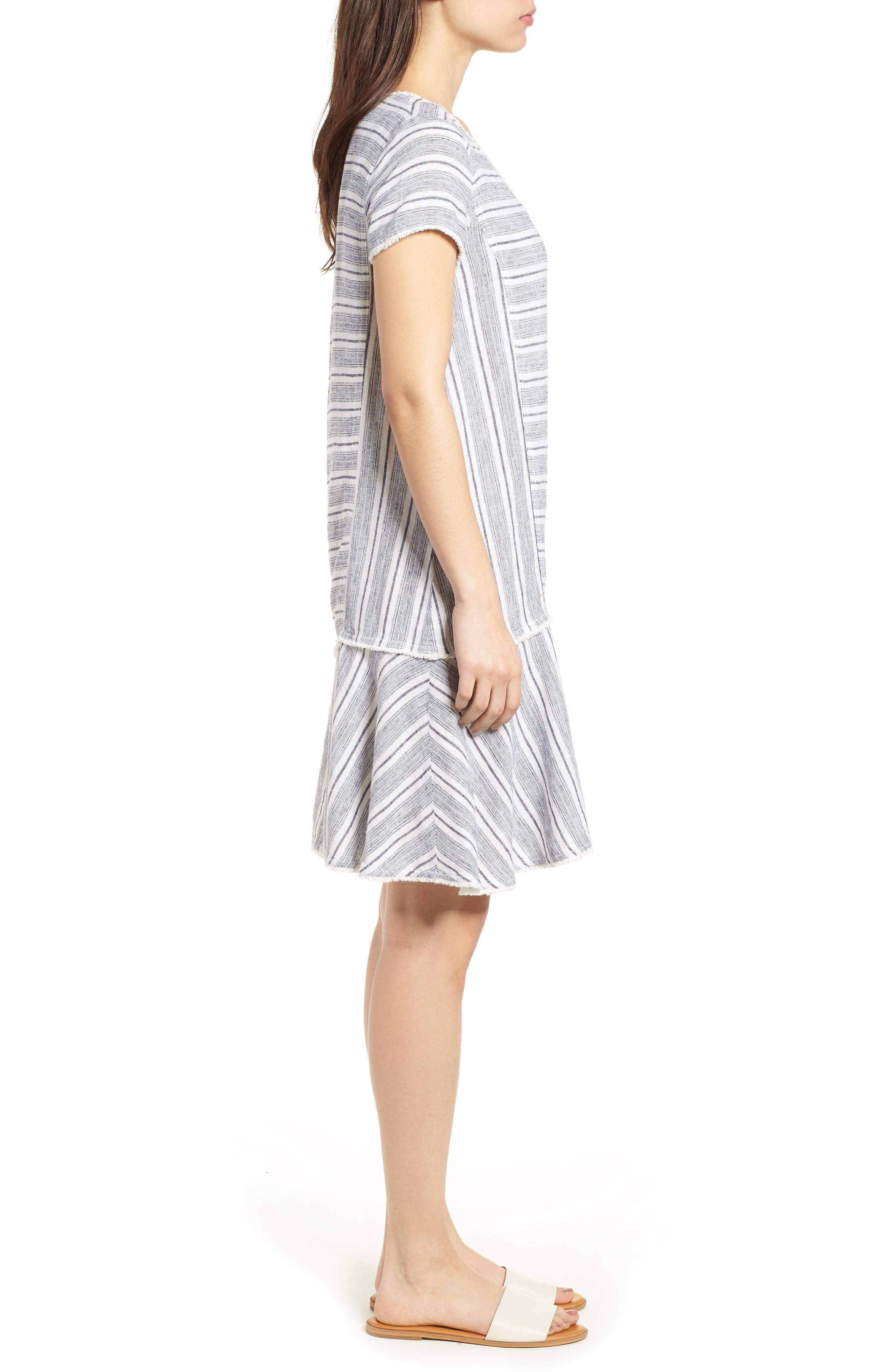 Linen Blend Stripe Dress,                             Alternate thumbnail 3, color,                             900
