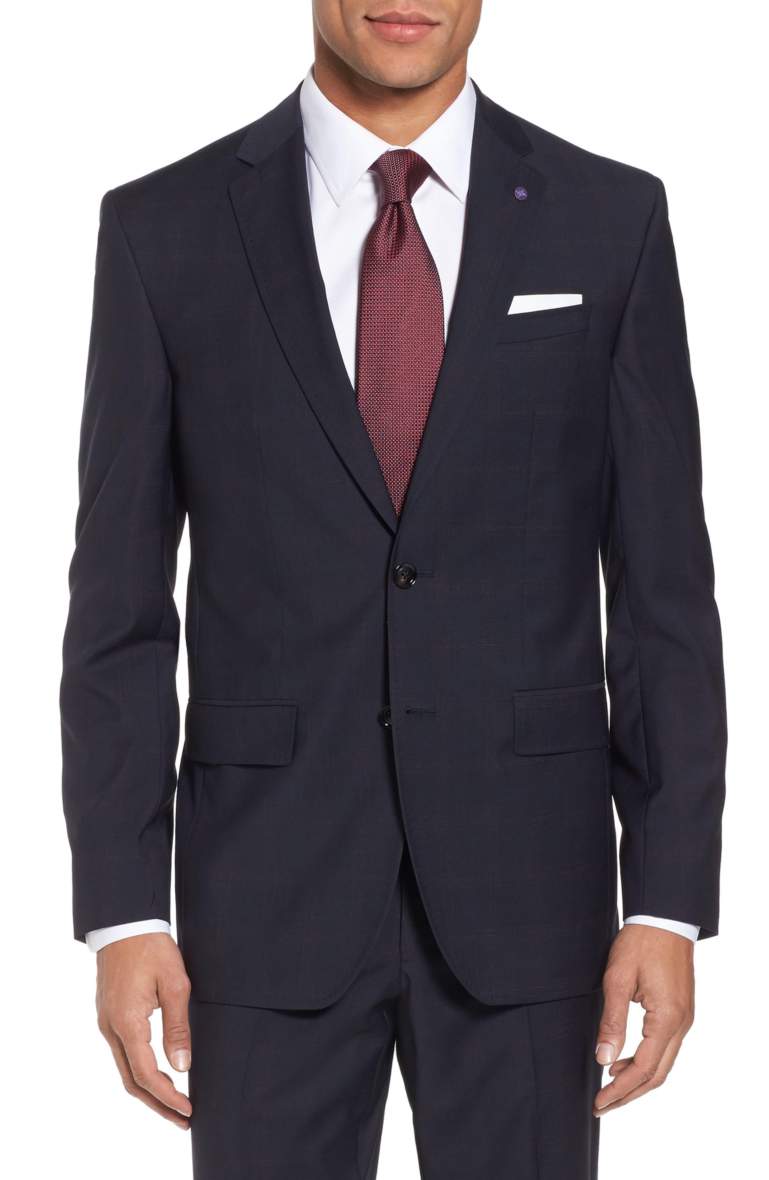Jay Trim Fit Plaid Wool Suit,                             Alternate thumbnail 5, color,                             001