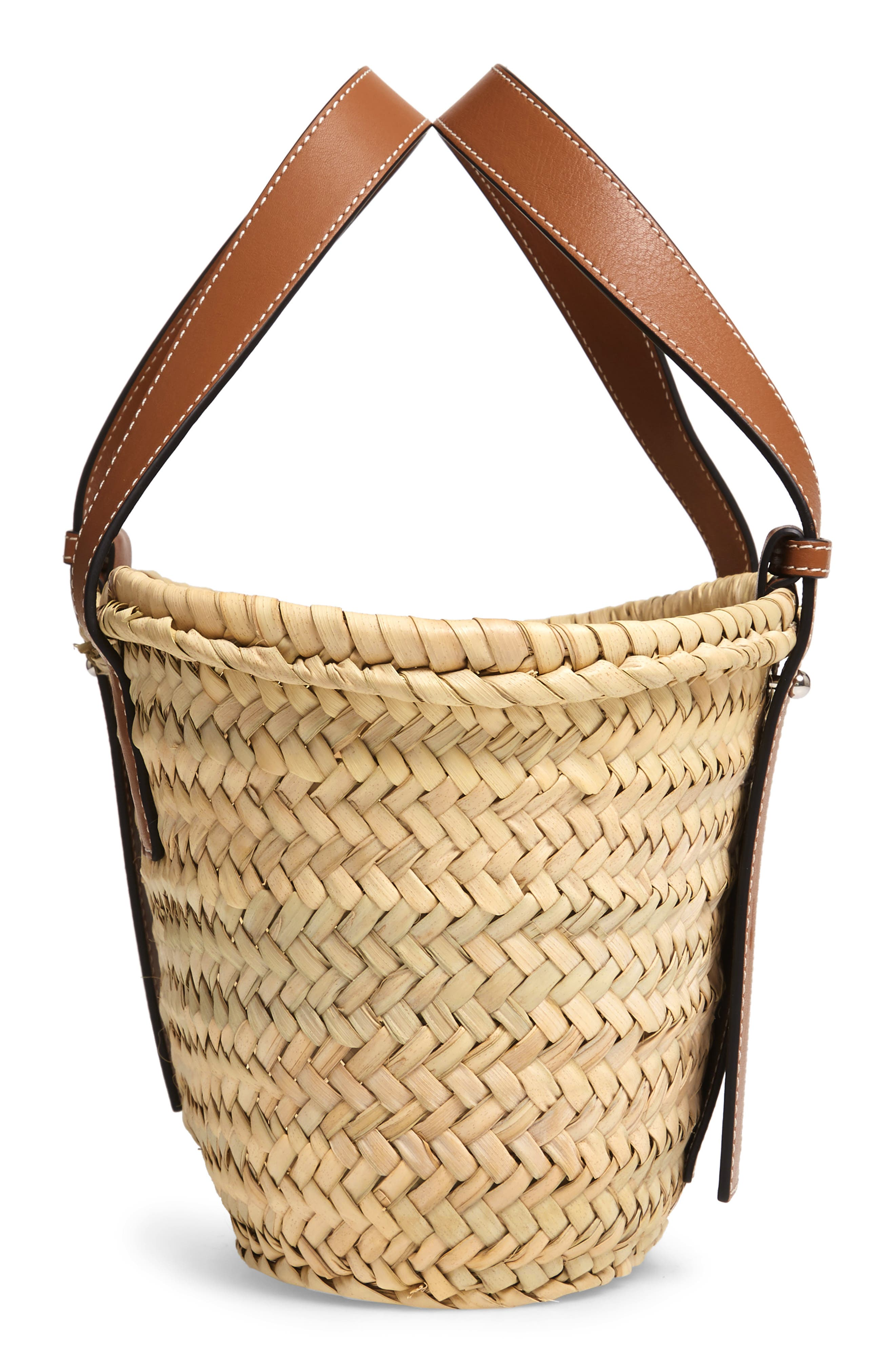 Small Logo Straw Tote,                             Alternate thumbnail 5, color,                             2435 NATURAL/ TAN