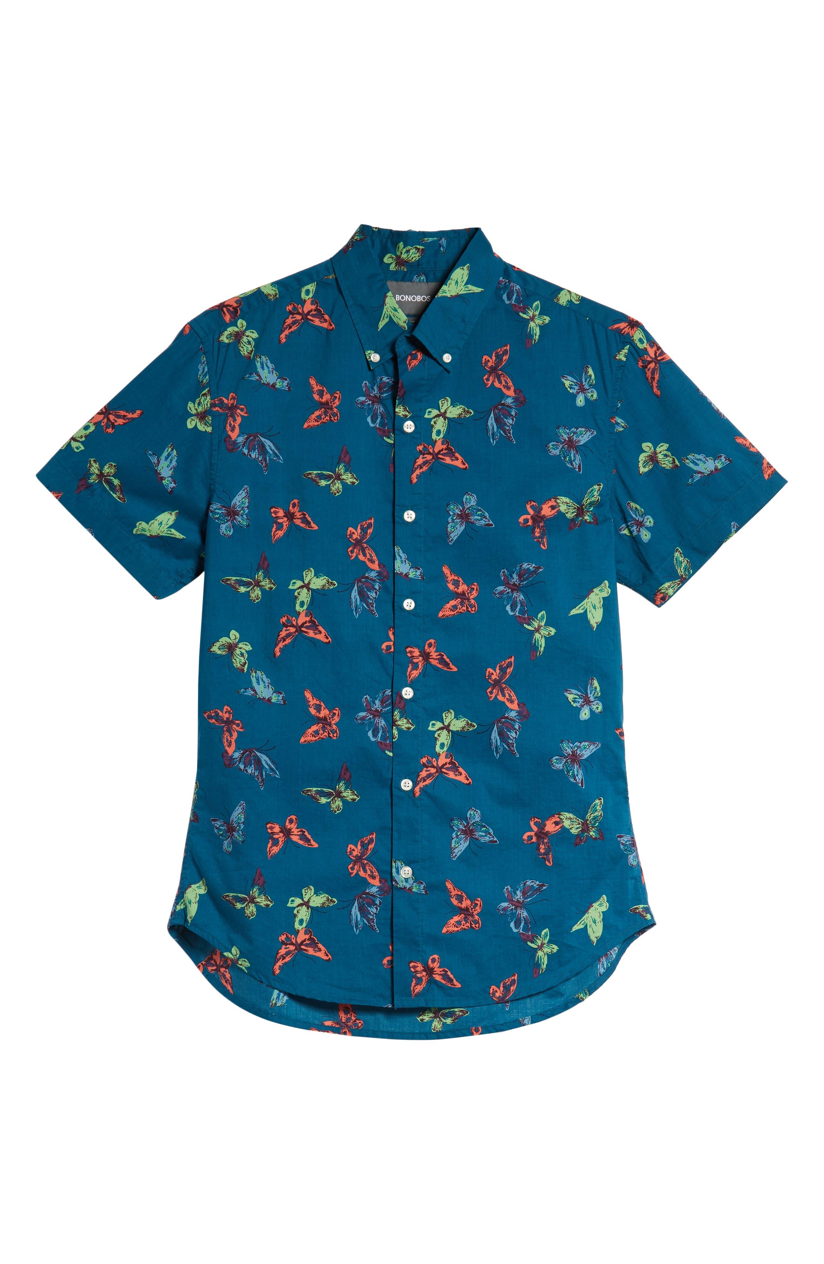 Riviera Slim Fit Butterfly Print Sport Shirt,                             Alternate thumbnail 5, color,                             400