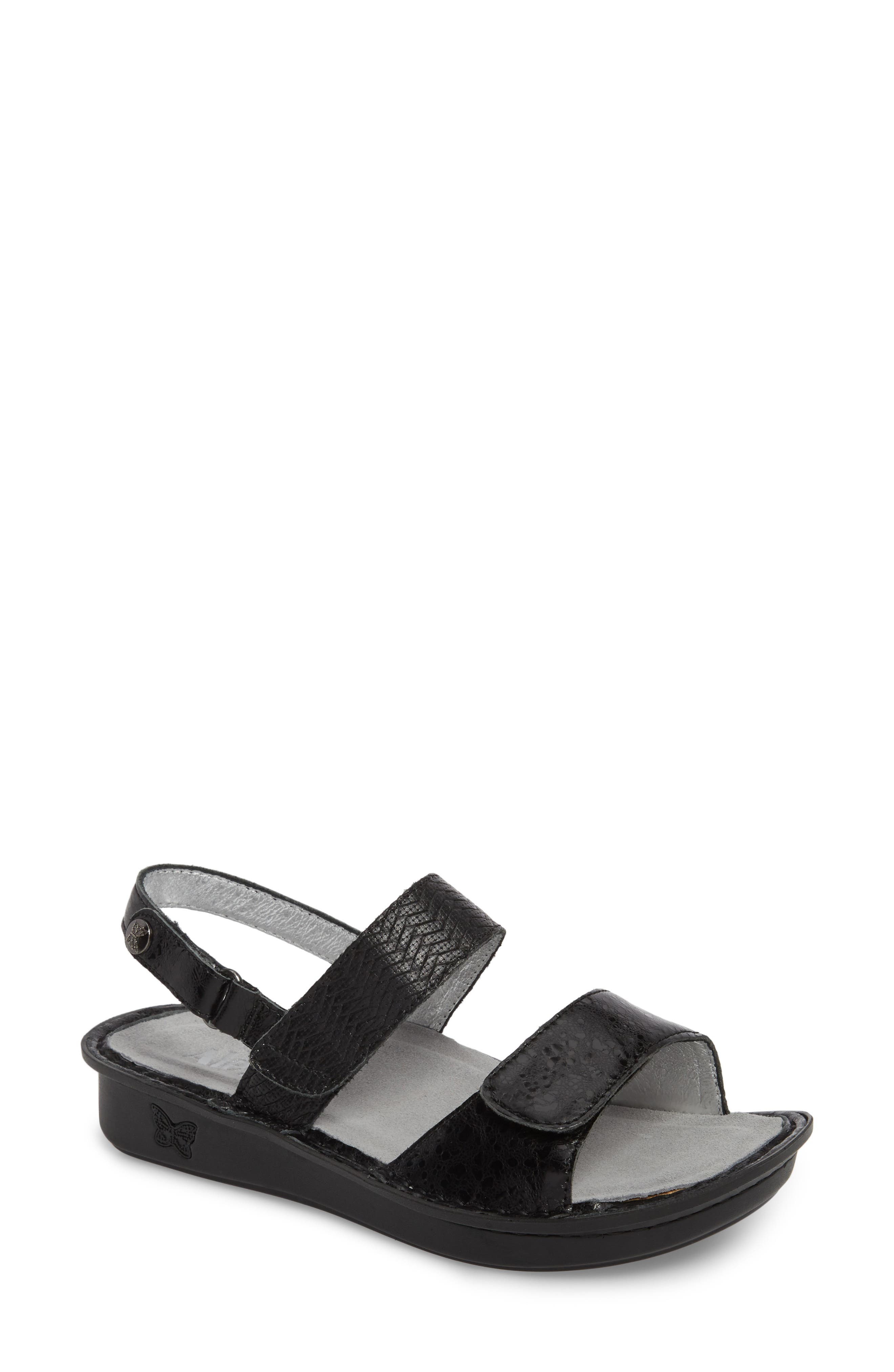 'Verona' Sandal,                             Main thumbnail 1, color,                             BRAIDED BLACK LEATHER
