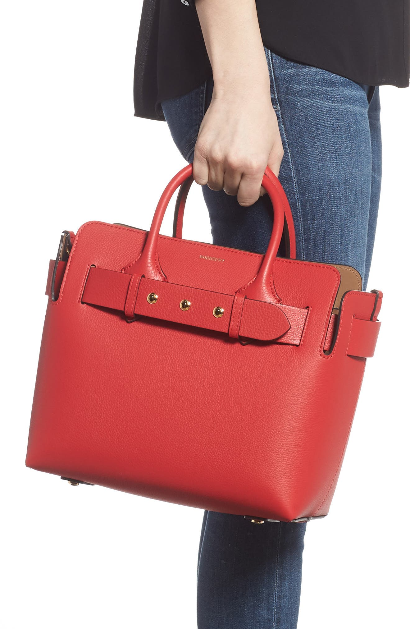 BURBERRY,                             Small Belt Leather Satchel,                             Alternate thumbnail 3, color,                             BRIGHT MILITARY RED