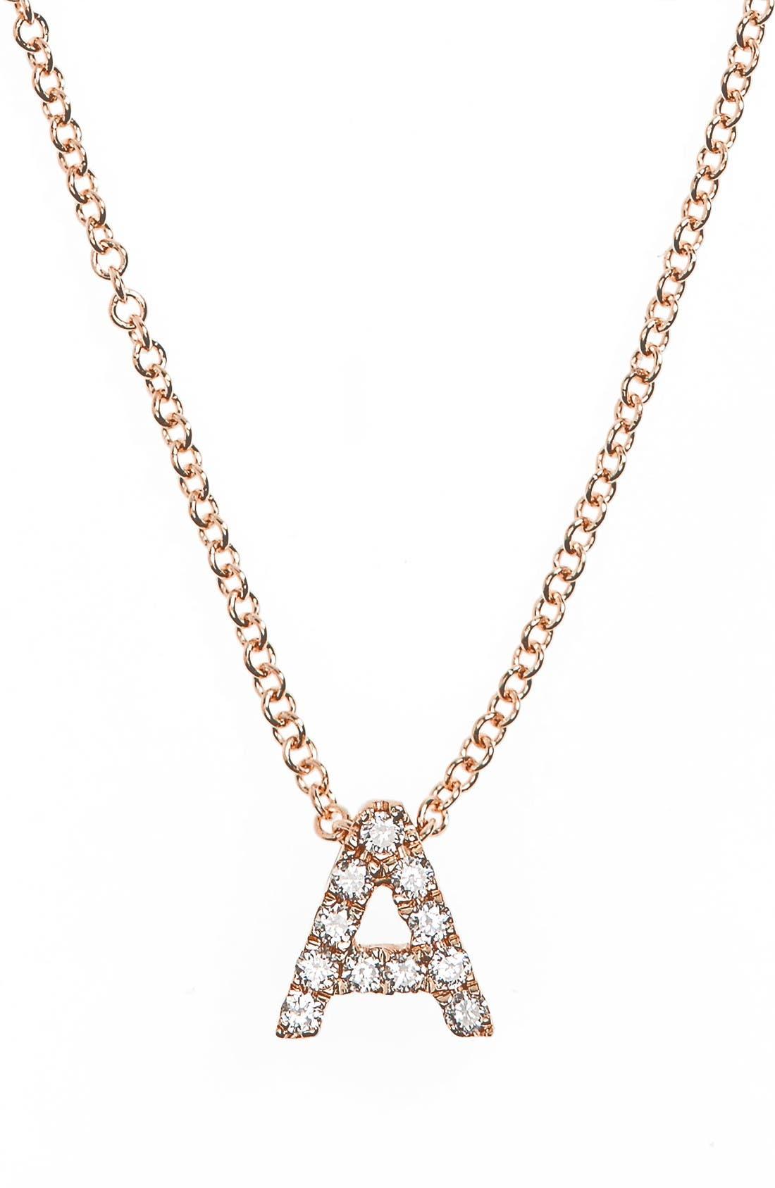 18k Gold Pavé Diamond Initial Pendant Necklace,                             Main thumbnail 1, color,                             ROSE GOLD - A