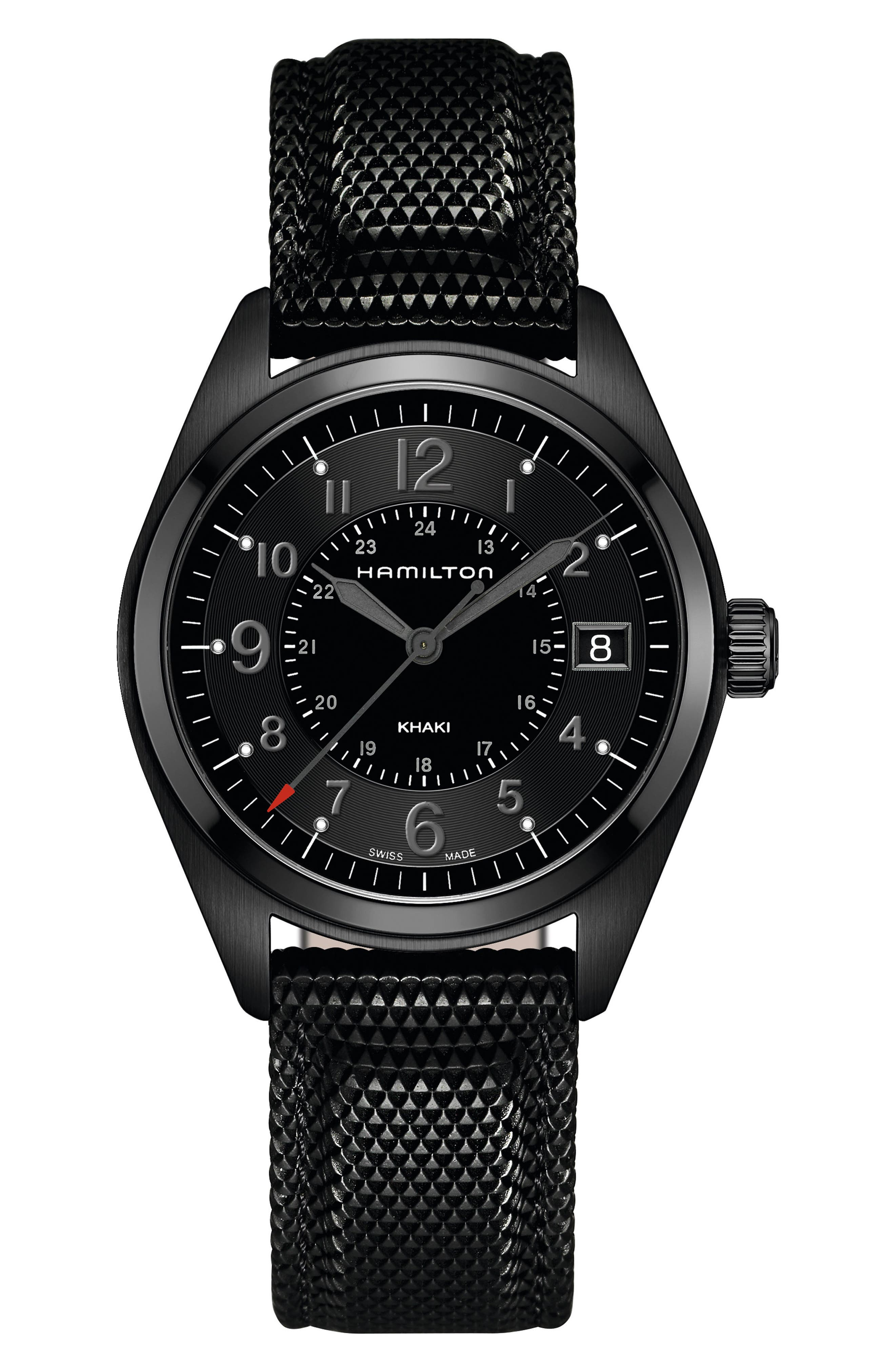 Khaki Field Silicone Strap Watch, 40mm,                             Main thumbnail 1, color,                             BLACK