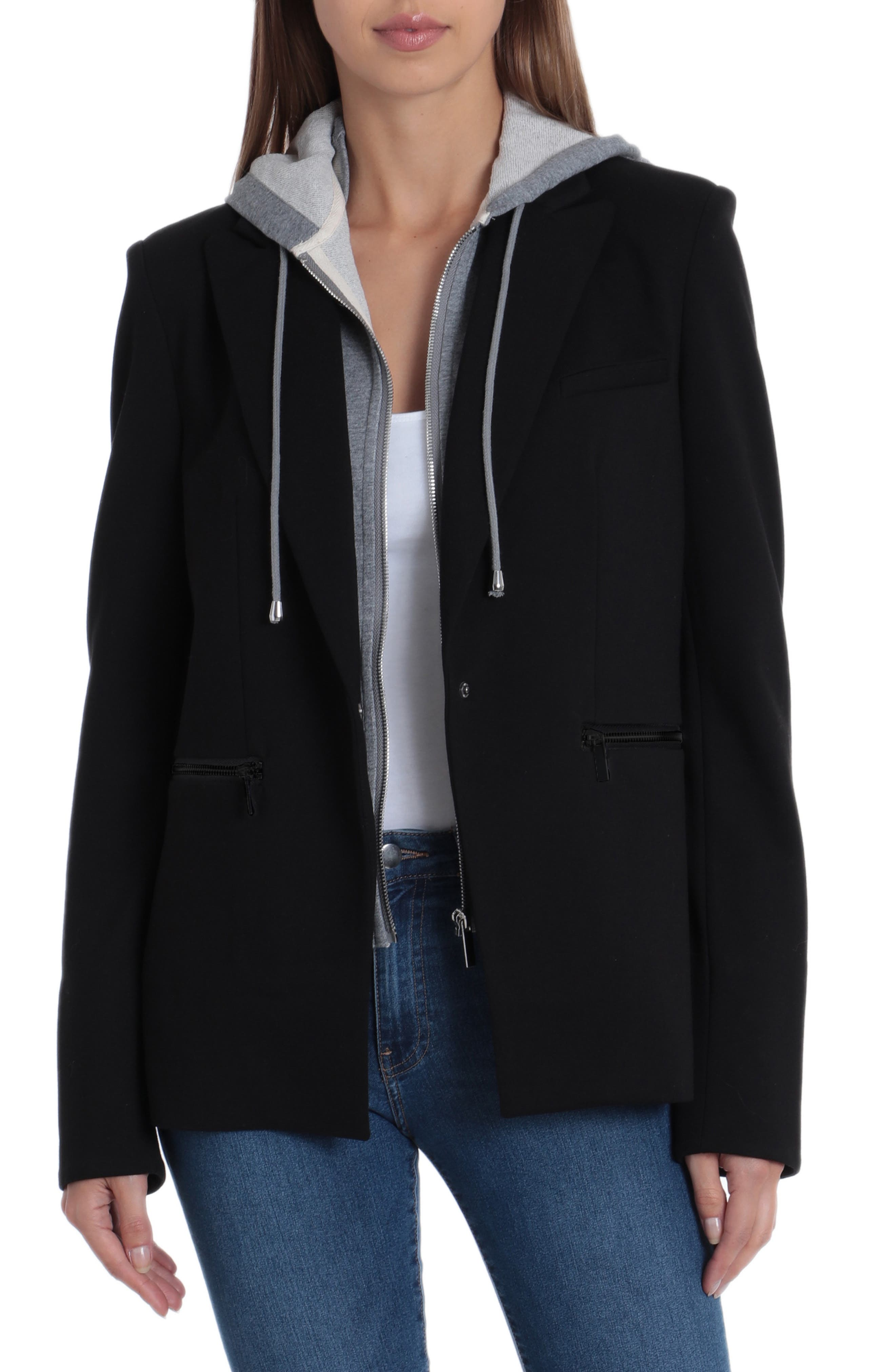 BAGATELLE Blazer With Detachable French Terry Hood in Black/Gray