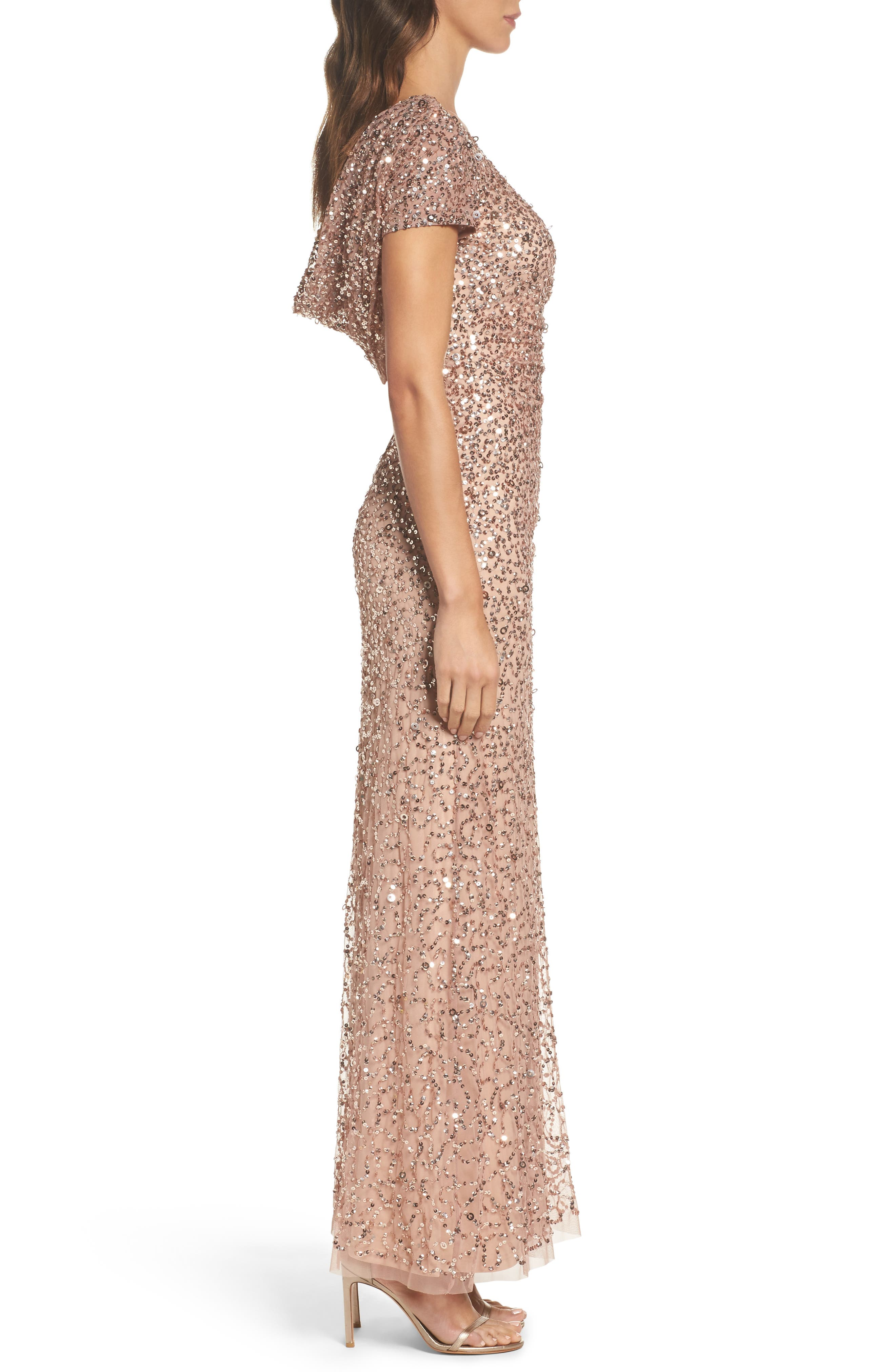 Sequin Cowl Back Gown,                             Alternate thumbnail 12, color,