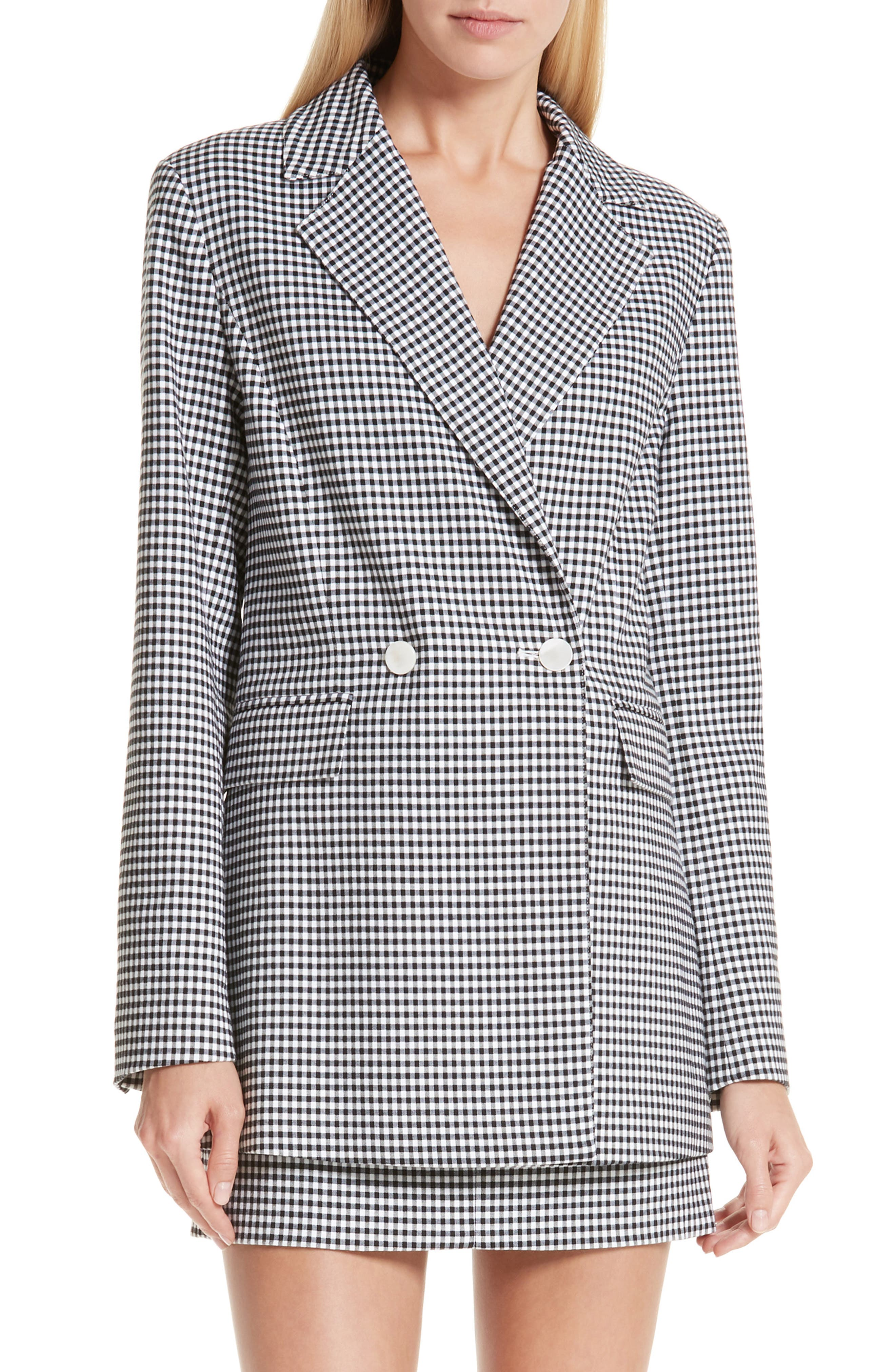 Lexy Mini Check Double Breasted Jacket,                             Main thumbnail 1, color,                             BLACK/ WHITE