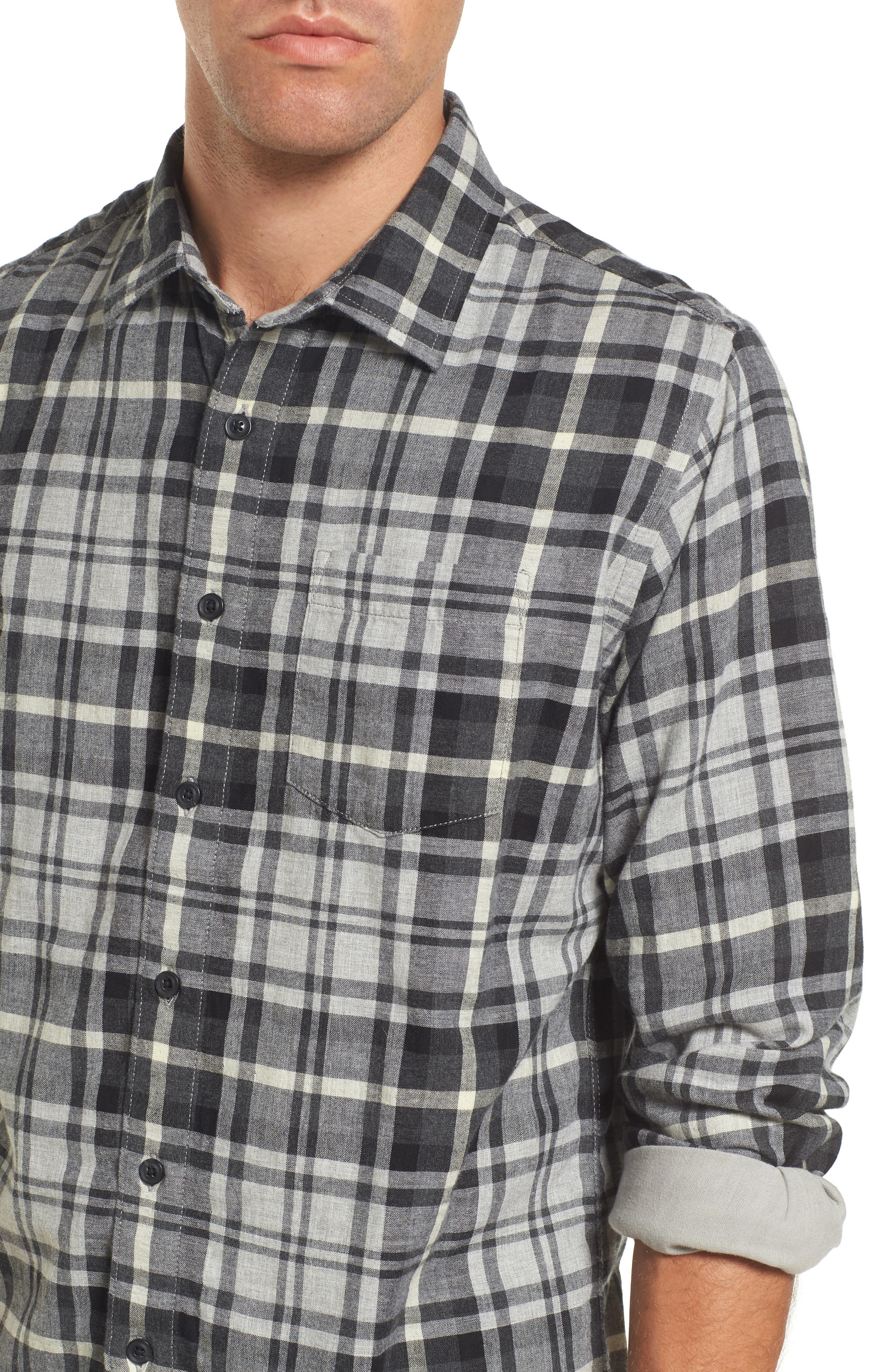 Heath Modern Fit Plaid Double Cloth Sport Shirt,                             Alternate thumbnail 4, color,                             062