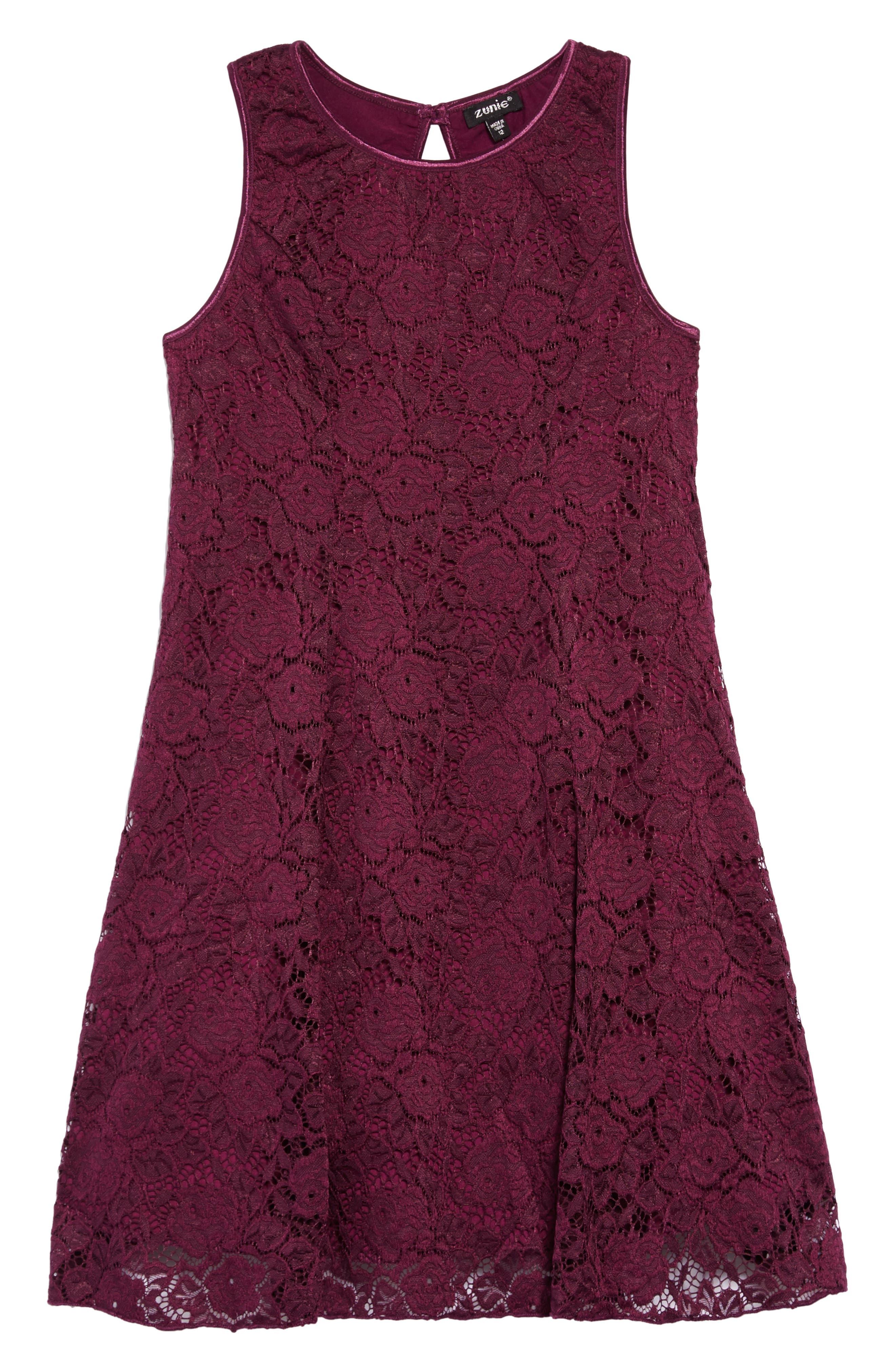 Lace Skater Dress,                             Main thumbnail 1, color,                             PLUM