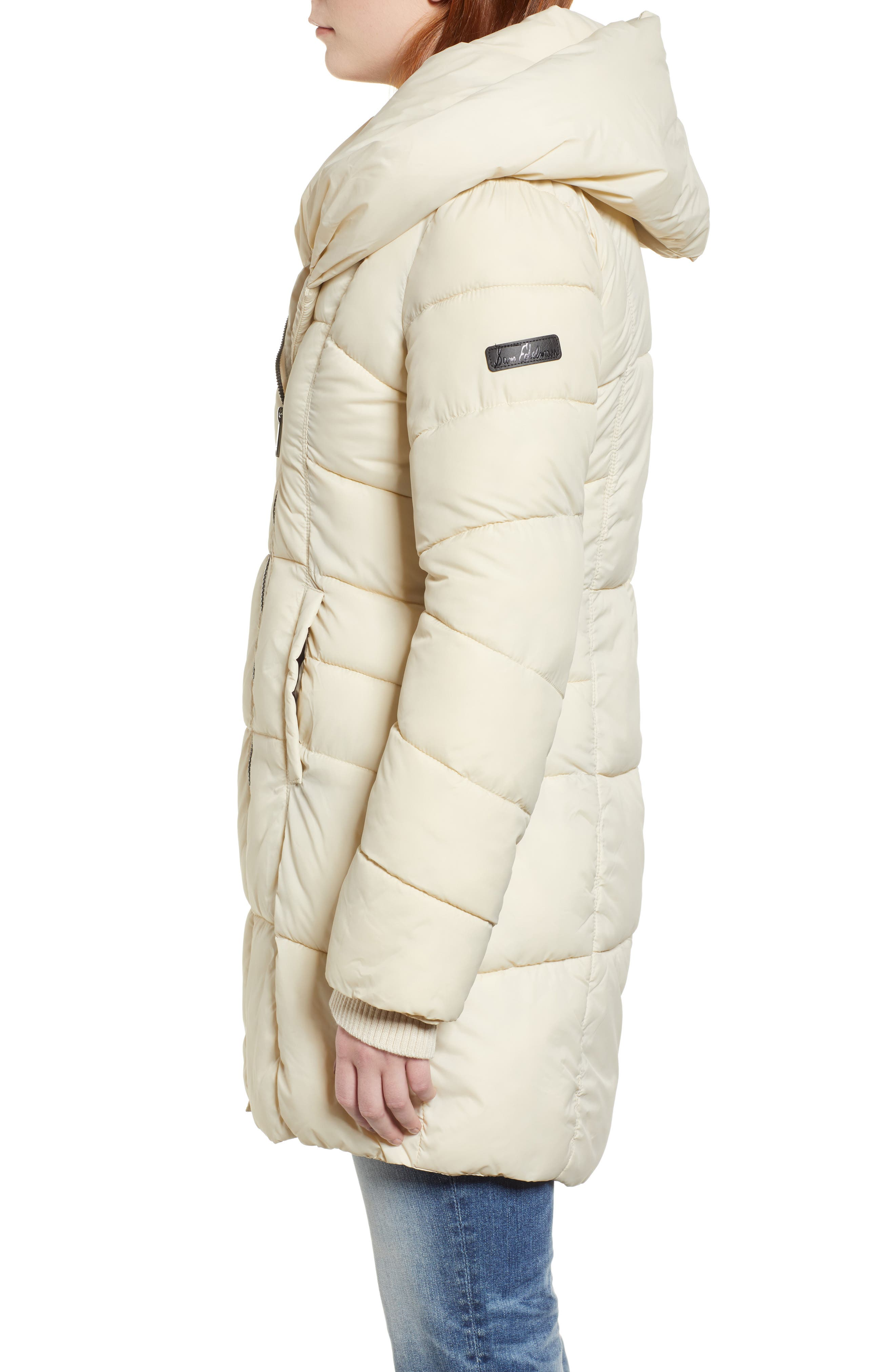 Pillow Collar Puffer Coat,                             Alternate thumbnail 3, color,                             IVORY