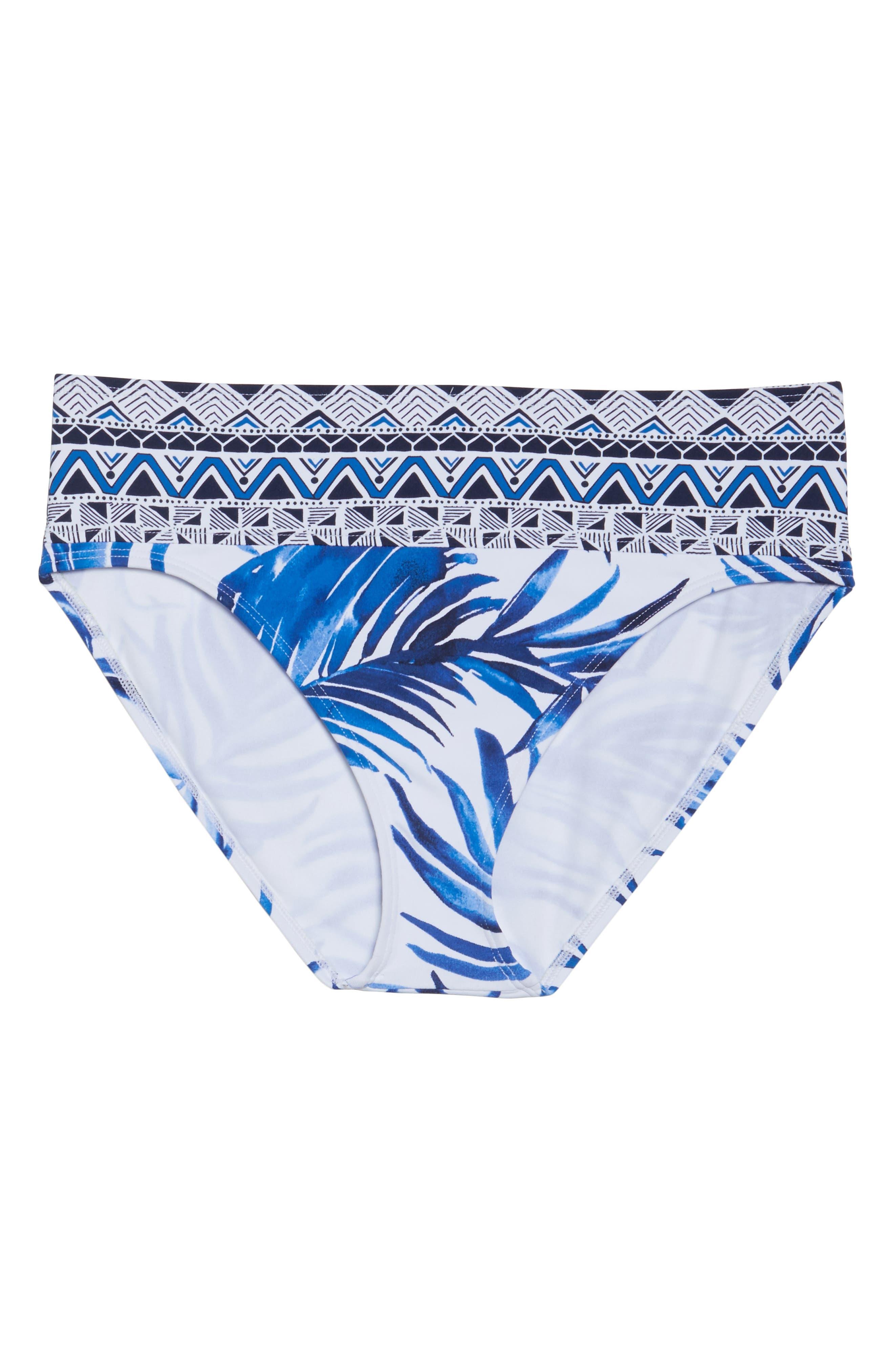 Fuller Fronds High Waist Bikini Bottoms,                             Alternate thumbnail 6, color,                             WHITE