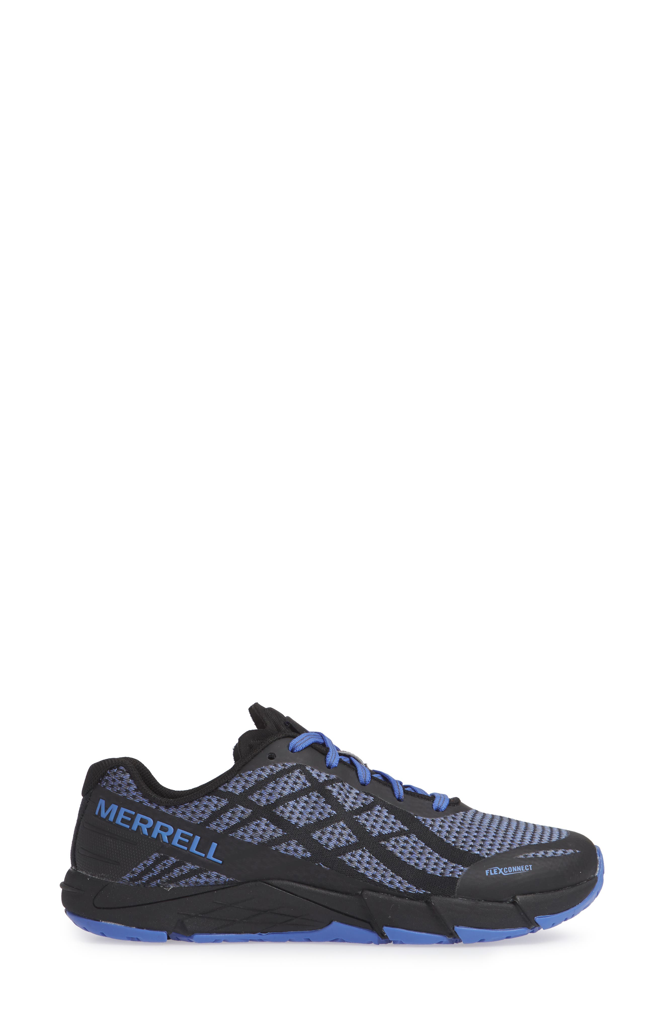 MERRELL,                             Bare Access Flex Shield Lace-Up Sneaker,                             Alternate thumbnail 3, color,                             BLACK AND WHITE FABRIC