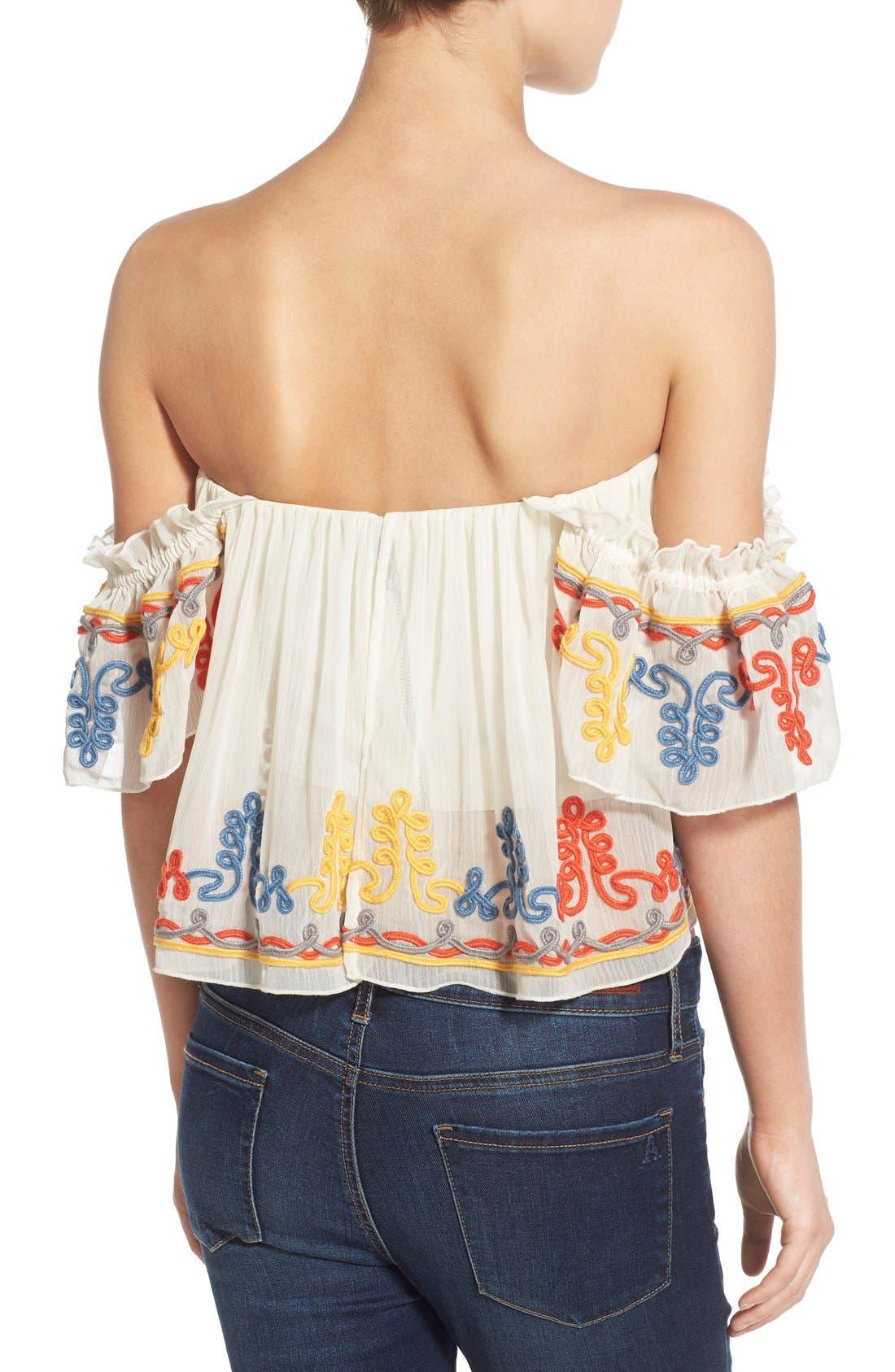 'Amelia' Embellished Off the Shoulder Crop Top,                             Alternate thumbnail 2, color,                             900