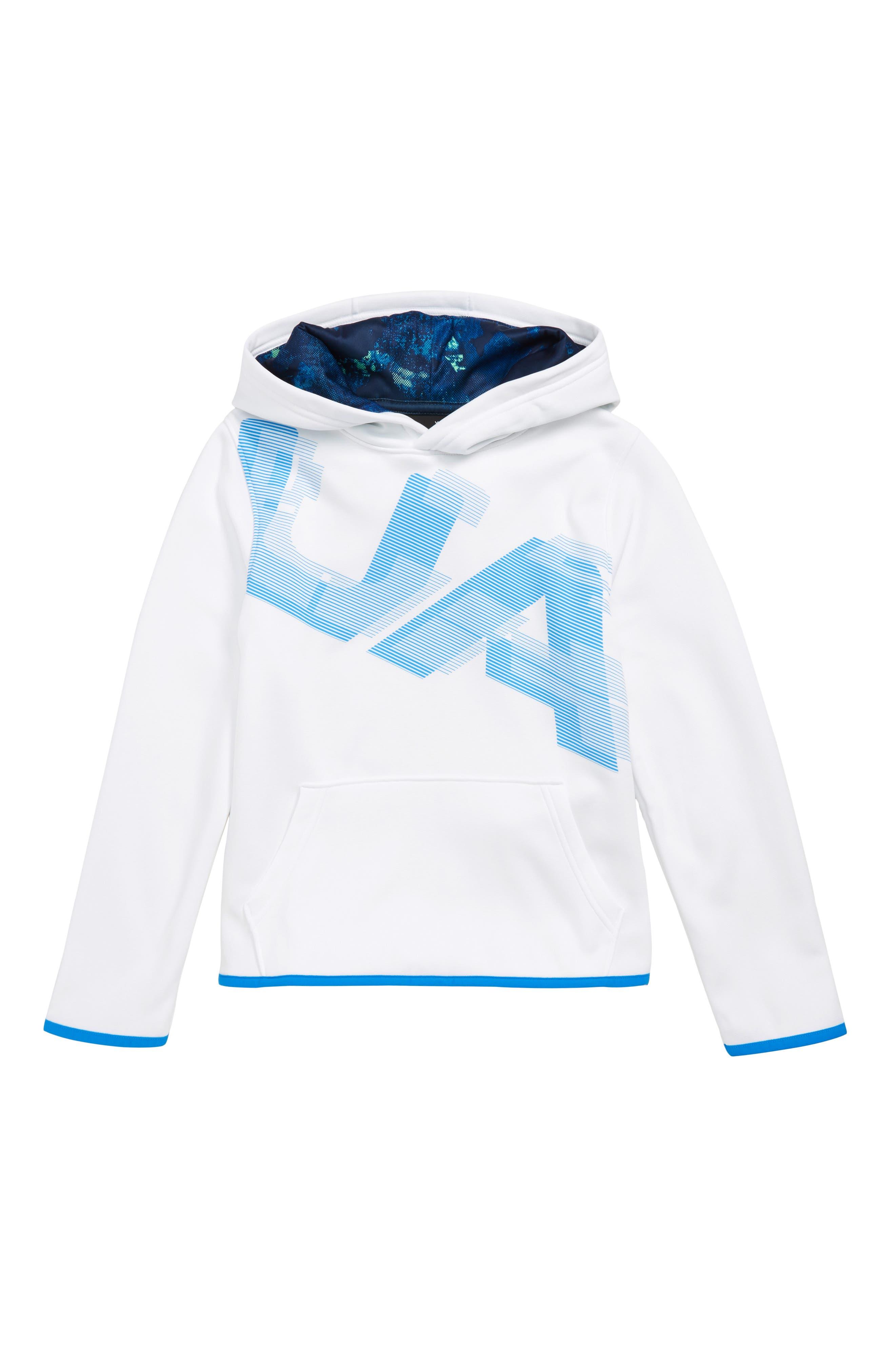 Armour Fleece<sup>®</sup> Logo Graphic Hoodie,                             Main thumbnail 1, color,                             WHITE/ BLUE CIRCUIT