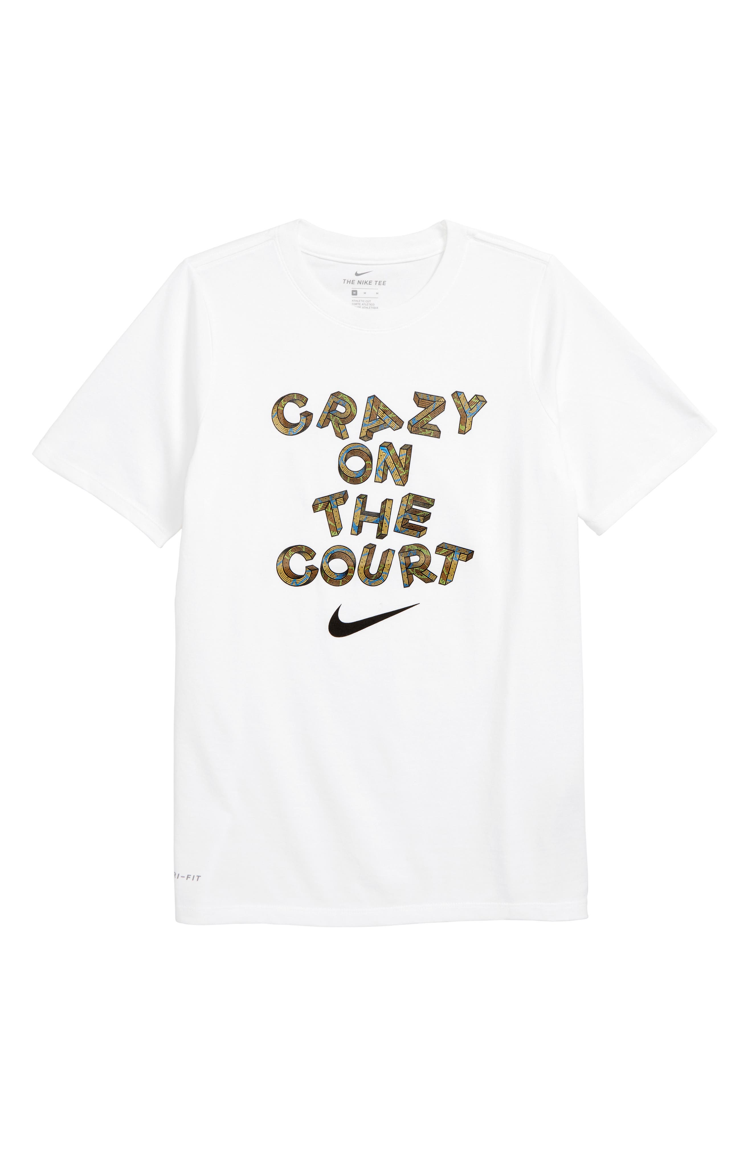 Crazy on the Court Graphic T-Shirt,                             Main thumbnail 1, color,                             WHITE