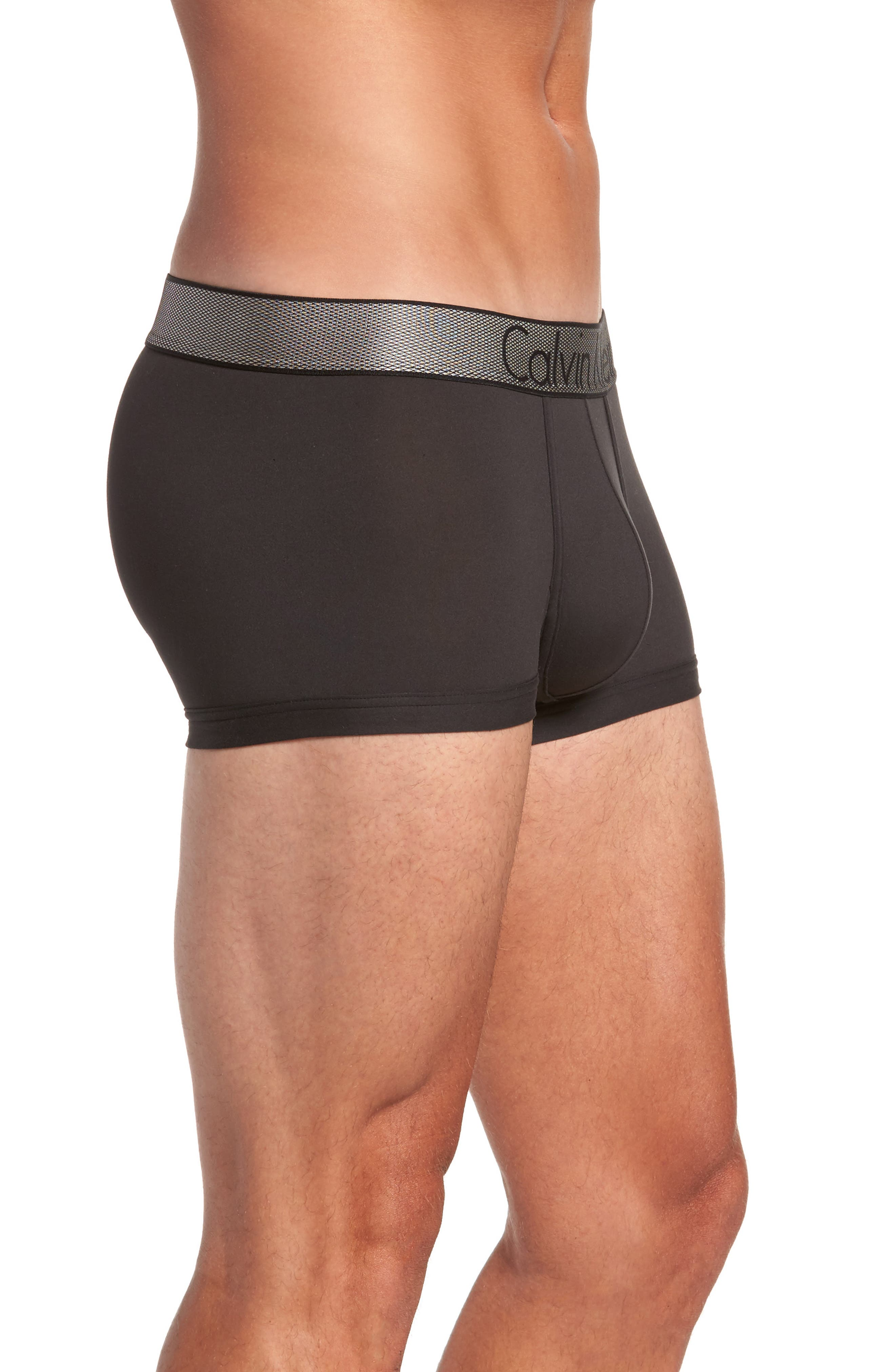 Customized Stretch Low Rise Trunks,                             Alternate thumbnail 3, color,                             BLACK
