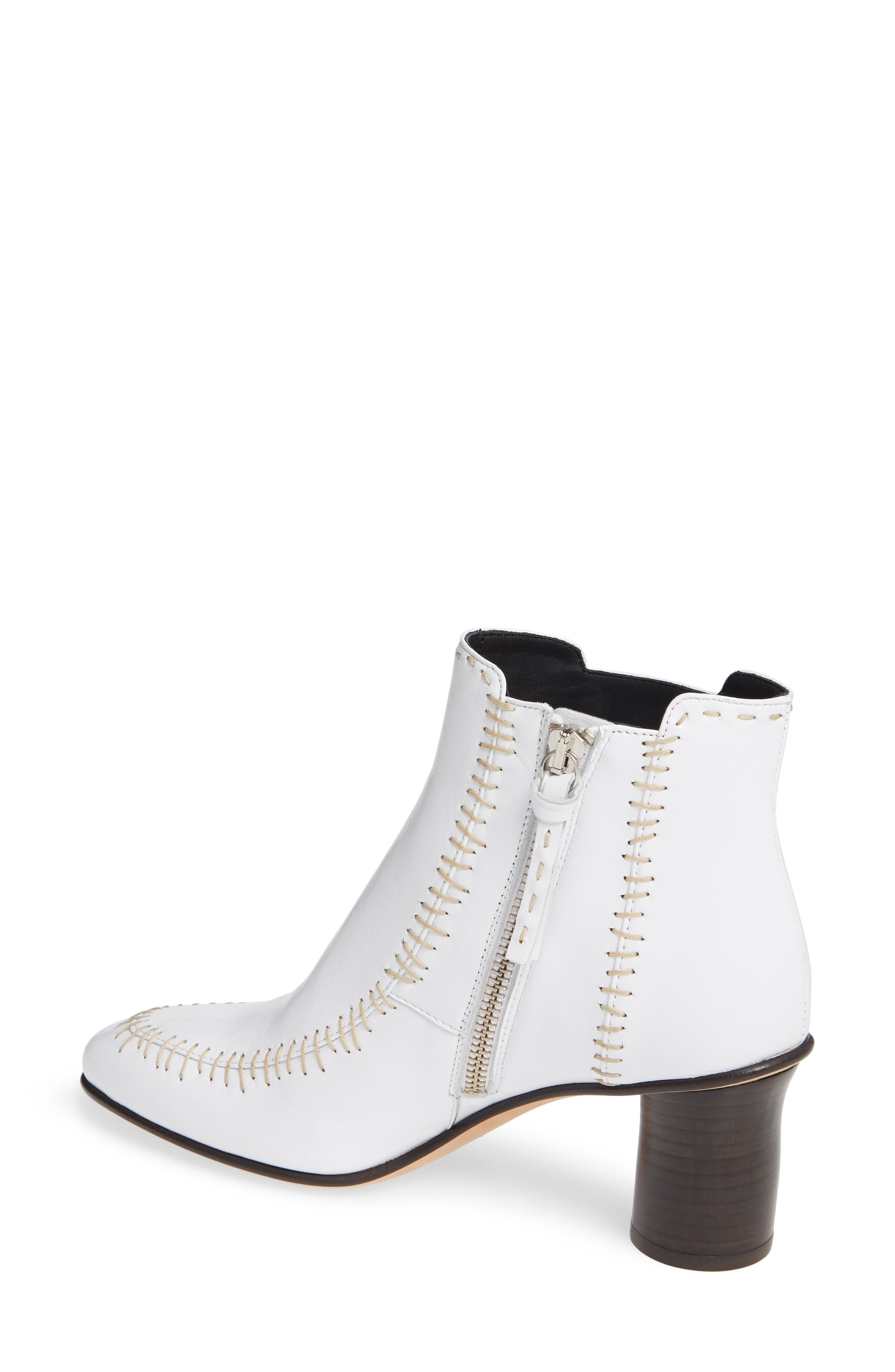 Stitch Leather Bootie,                             Alternate thumbnail 2, color,                             WHITE