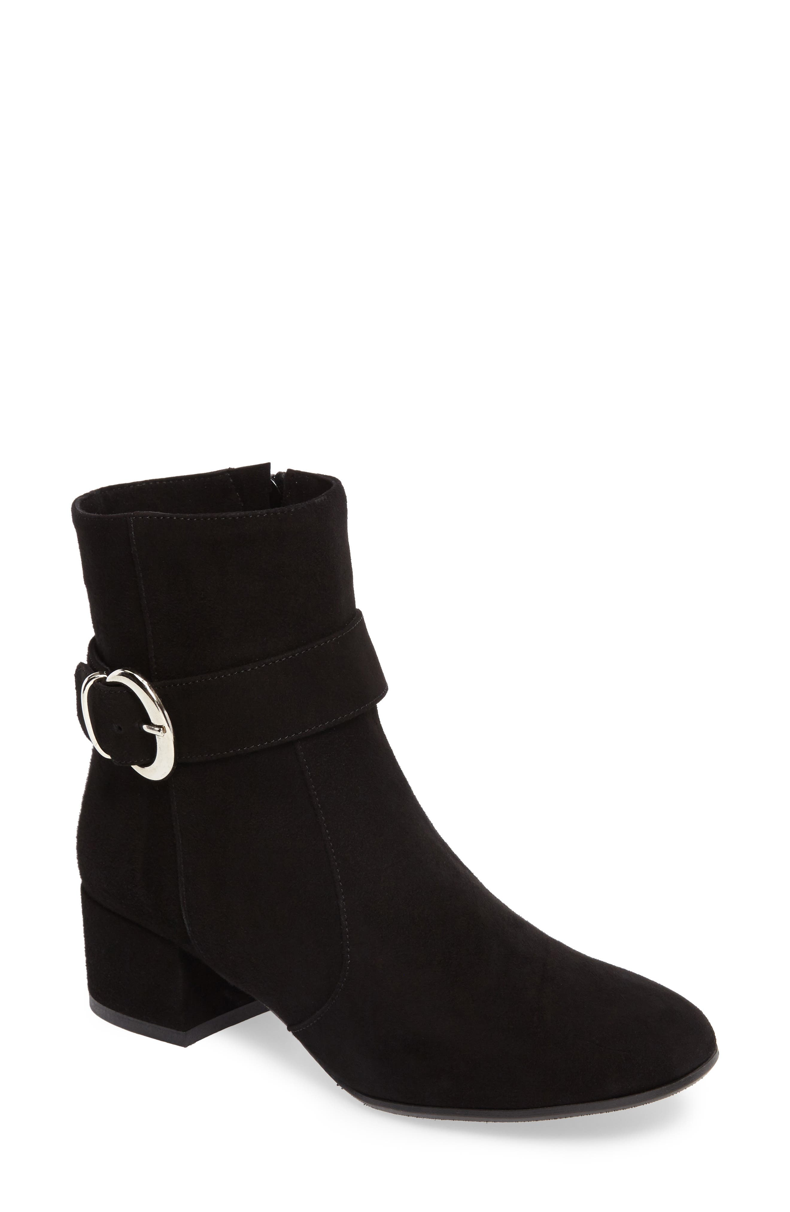 Maddie Buckle Strap Bootie,                             Main thumbnail 1, color,                             001