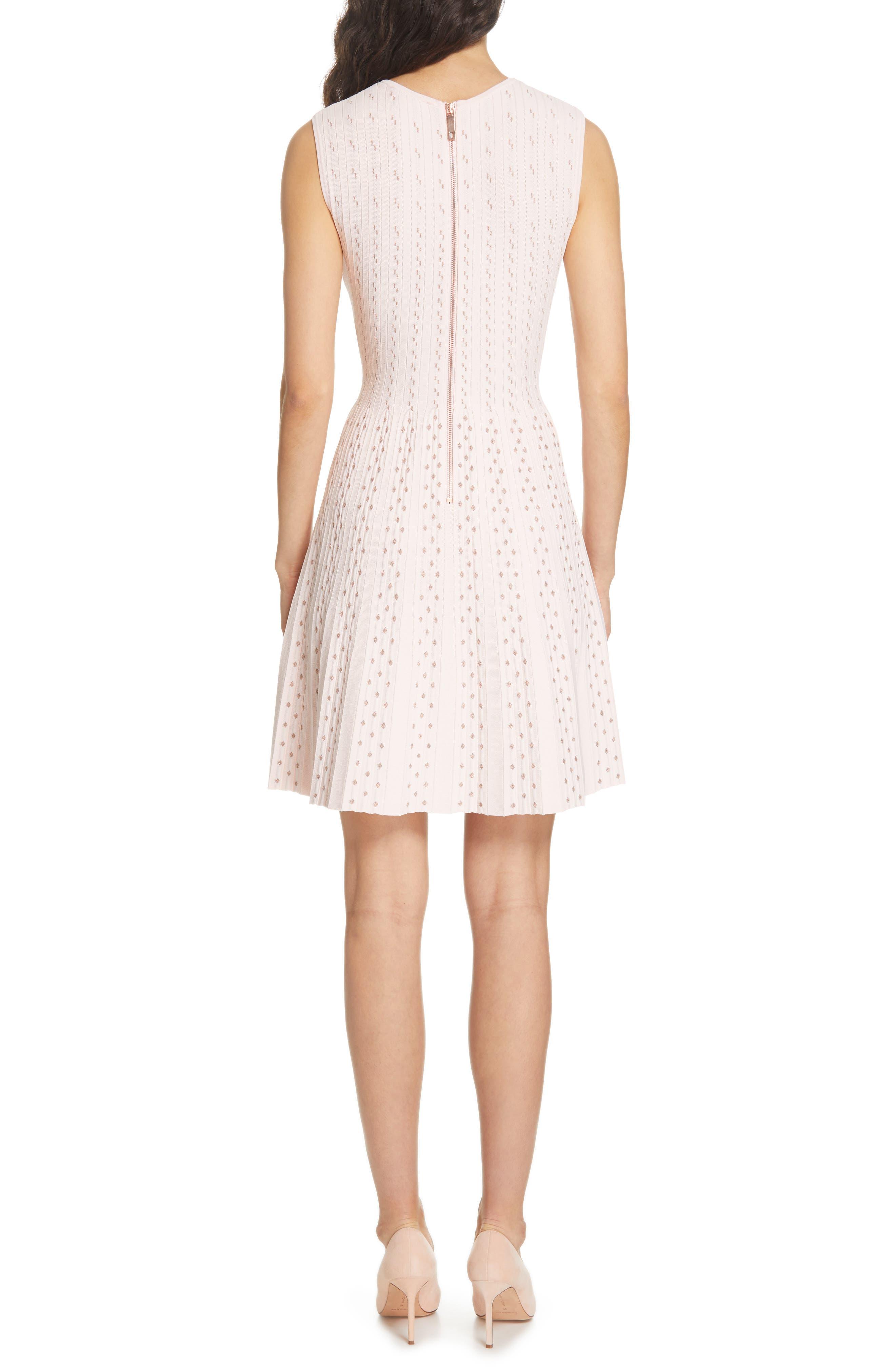 Vellia Flippy Knit Skater Dress,                             Alternate thumbnail 2, color,                             PALE PINK