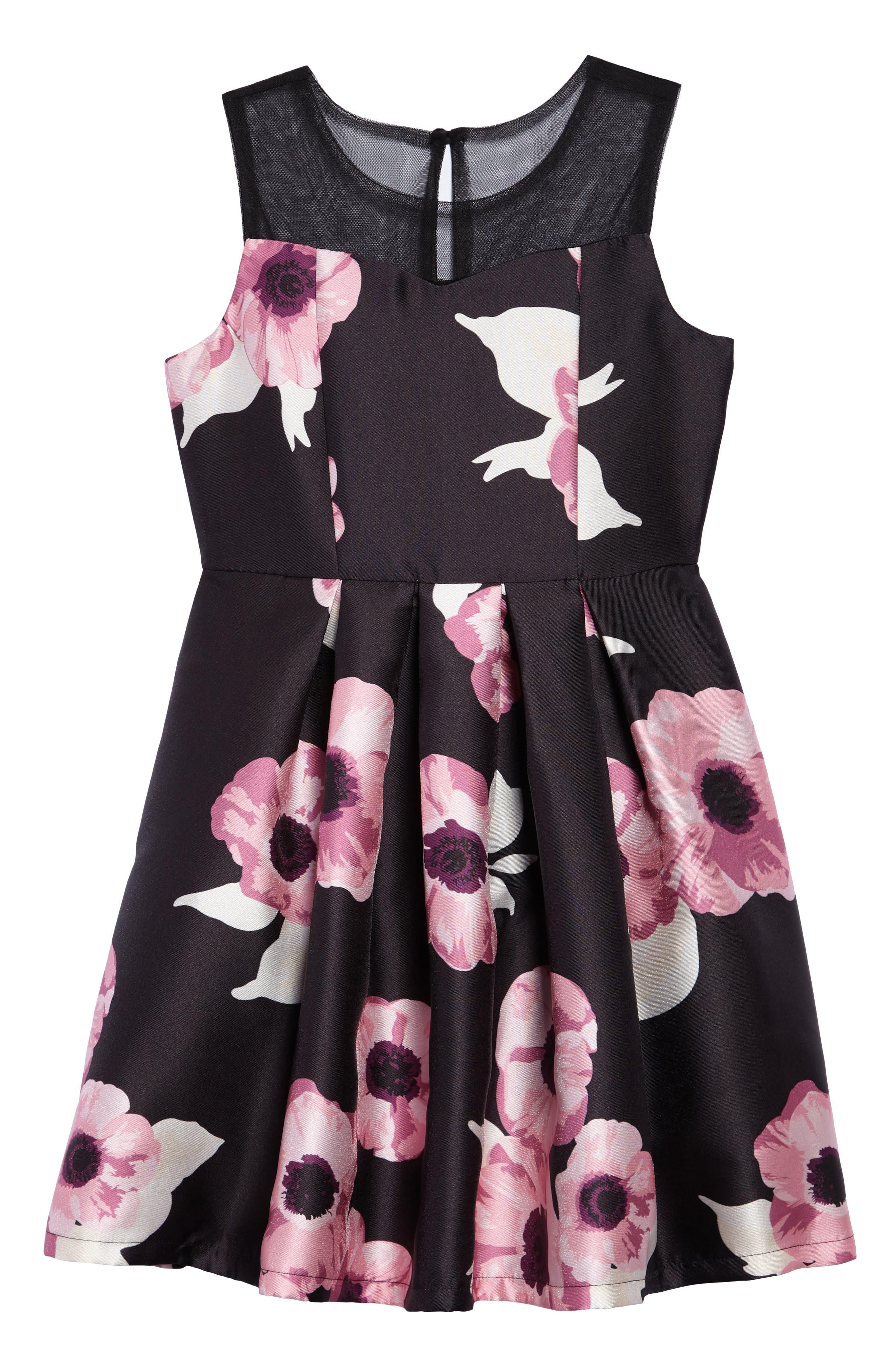 Floral Fit & Flare Dress,                             Main thumbnail 1, color,                             001